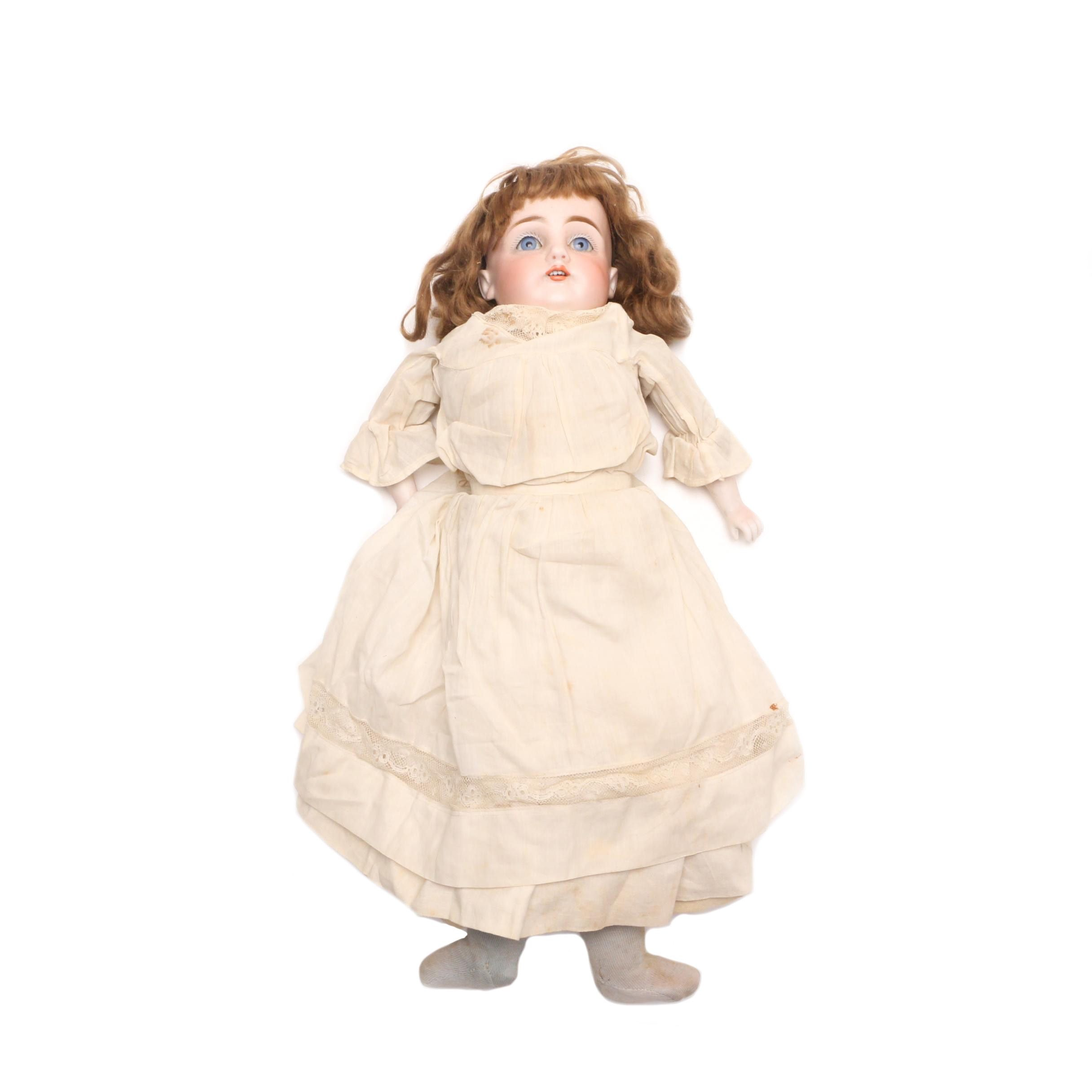 Kestner Bisque Head Doll with leather and Cloth Body