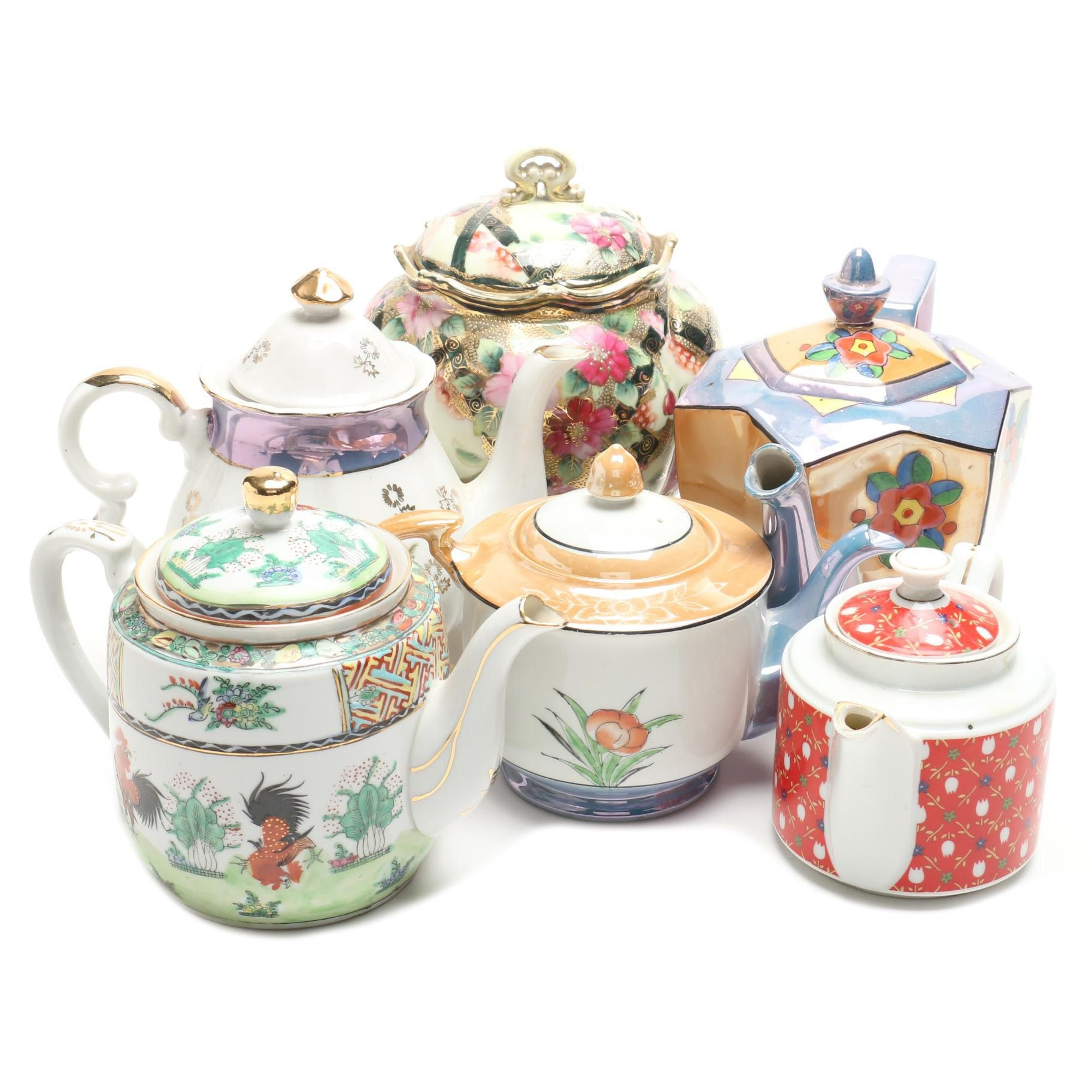 Japanese Porcelain Handpainted Teapots and Serveware Including Nippon and More
