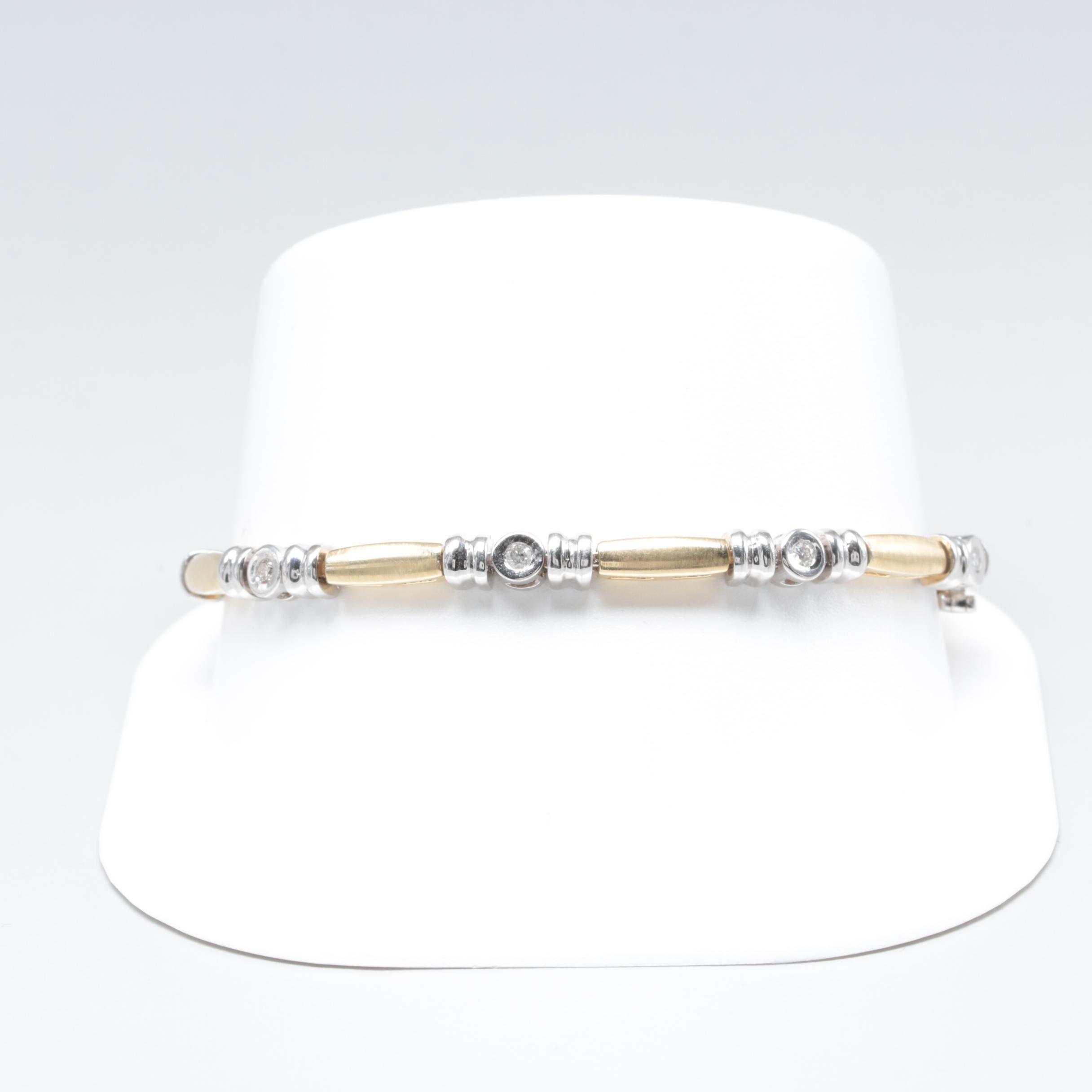 14K White and Yellow Gold Diamond Bracelet