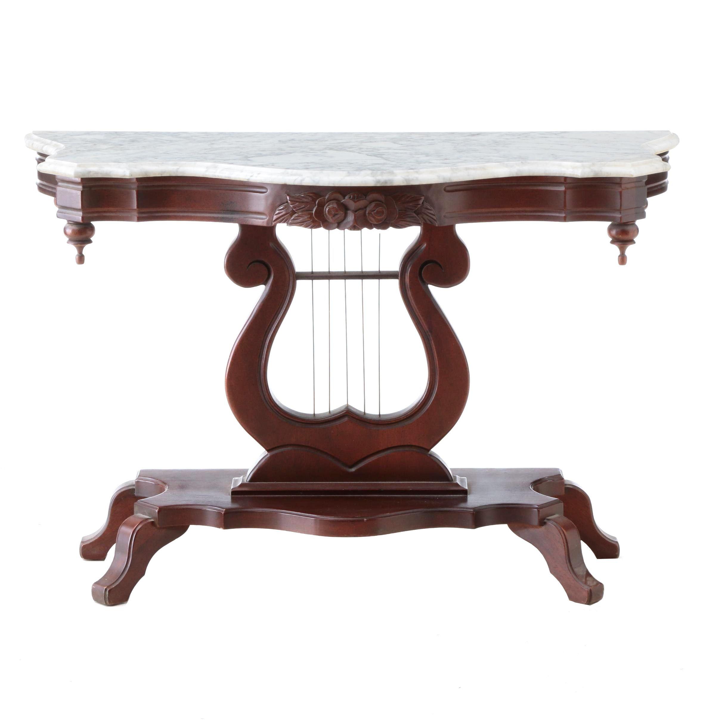 Antique Lyre Base Table