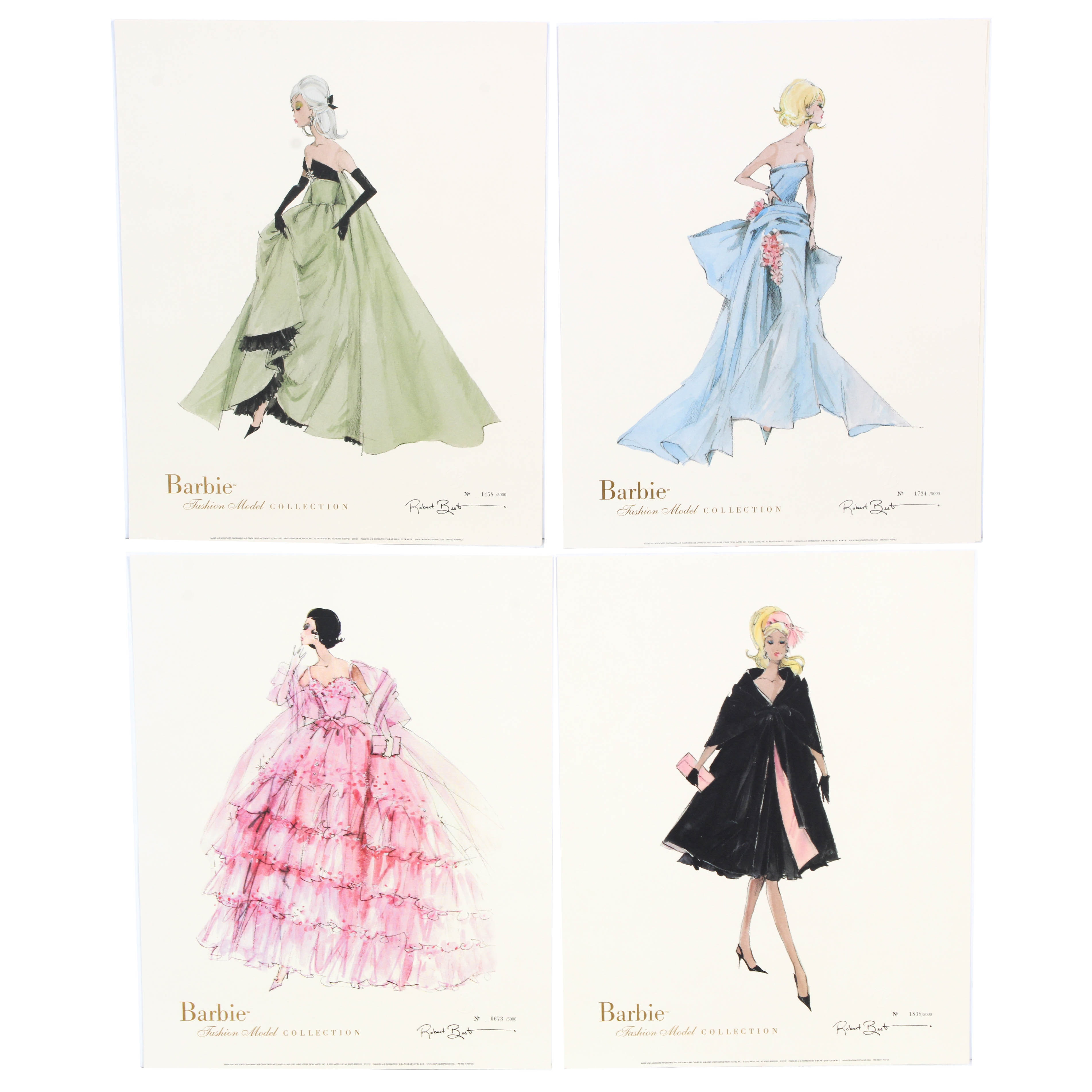 """Robert Best Limited Edition """"Barbie Doll Fashion"""" Offset Lithographs"""