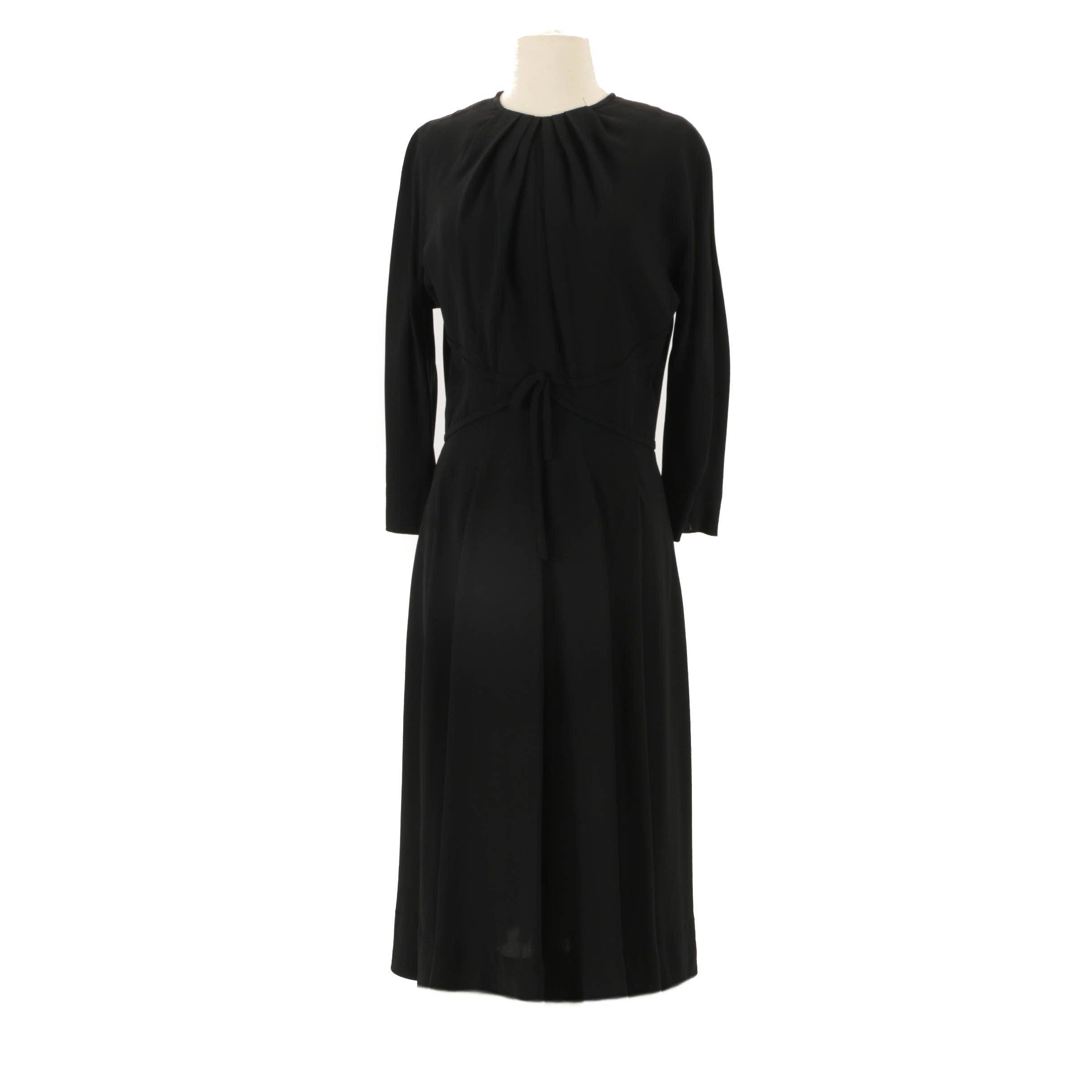 Circa 1950s Vintage Herbert Sondheim Gabardine Dress
