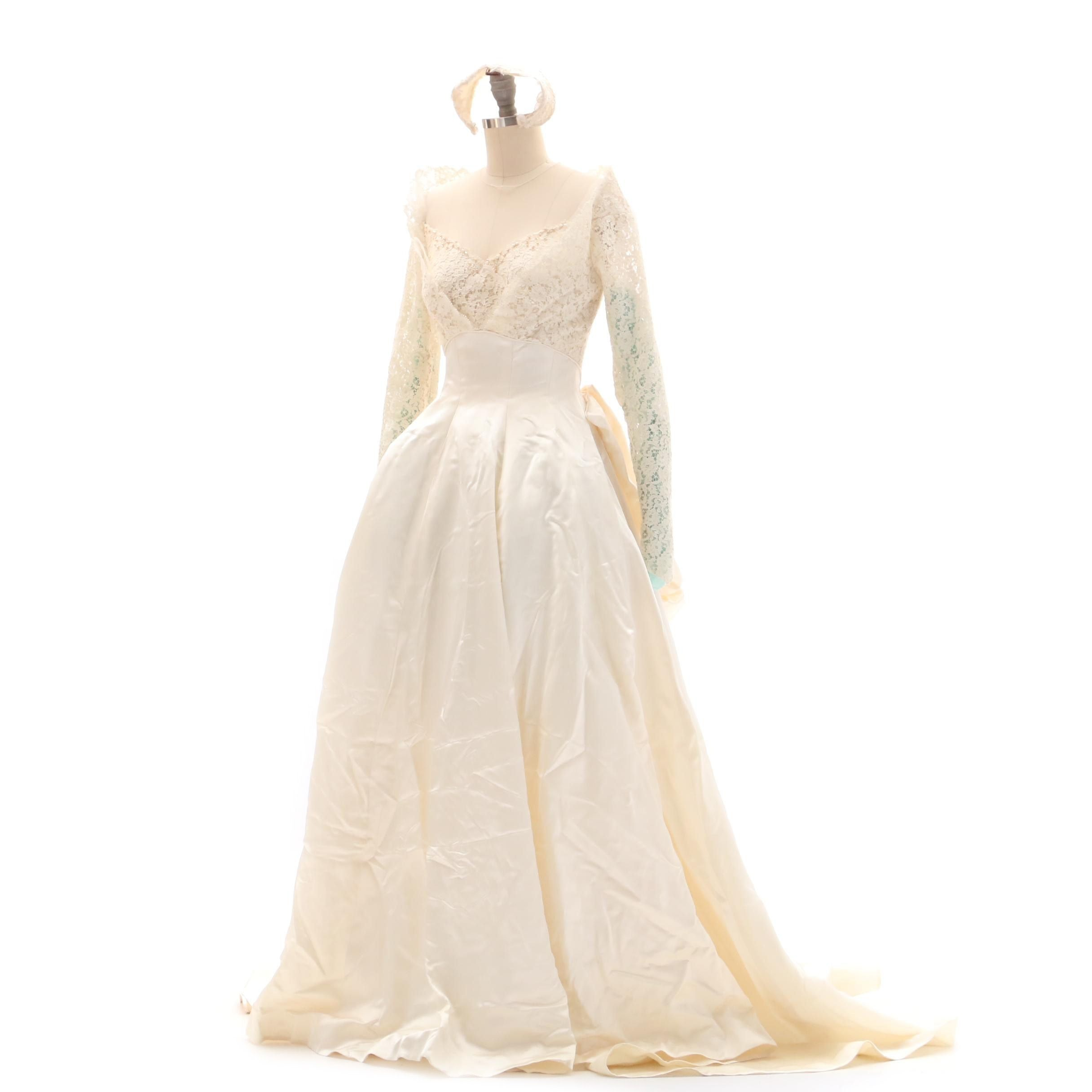 Vintage Gowns by Priscilla of Boston Wedding Gown with Lace and Matching Veil