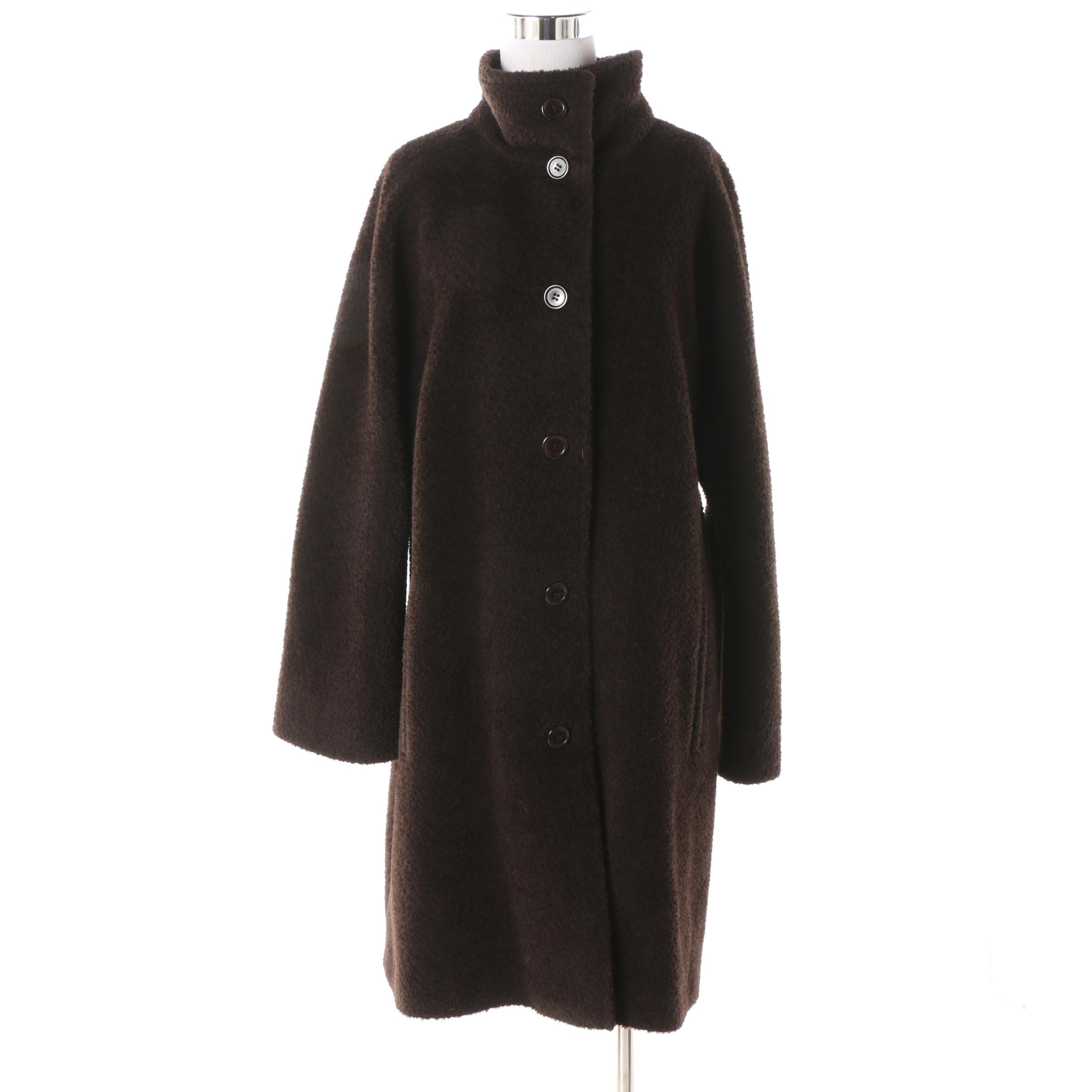 Women's Hilary Radley Dark Brown Alpaca Suri Wool Blend Coat