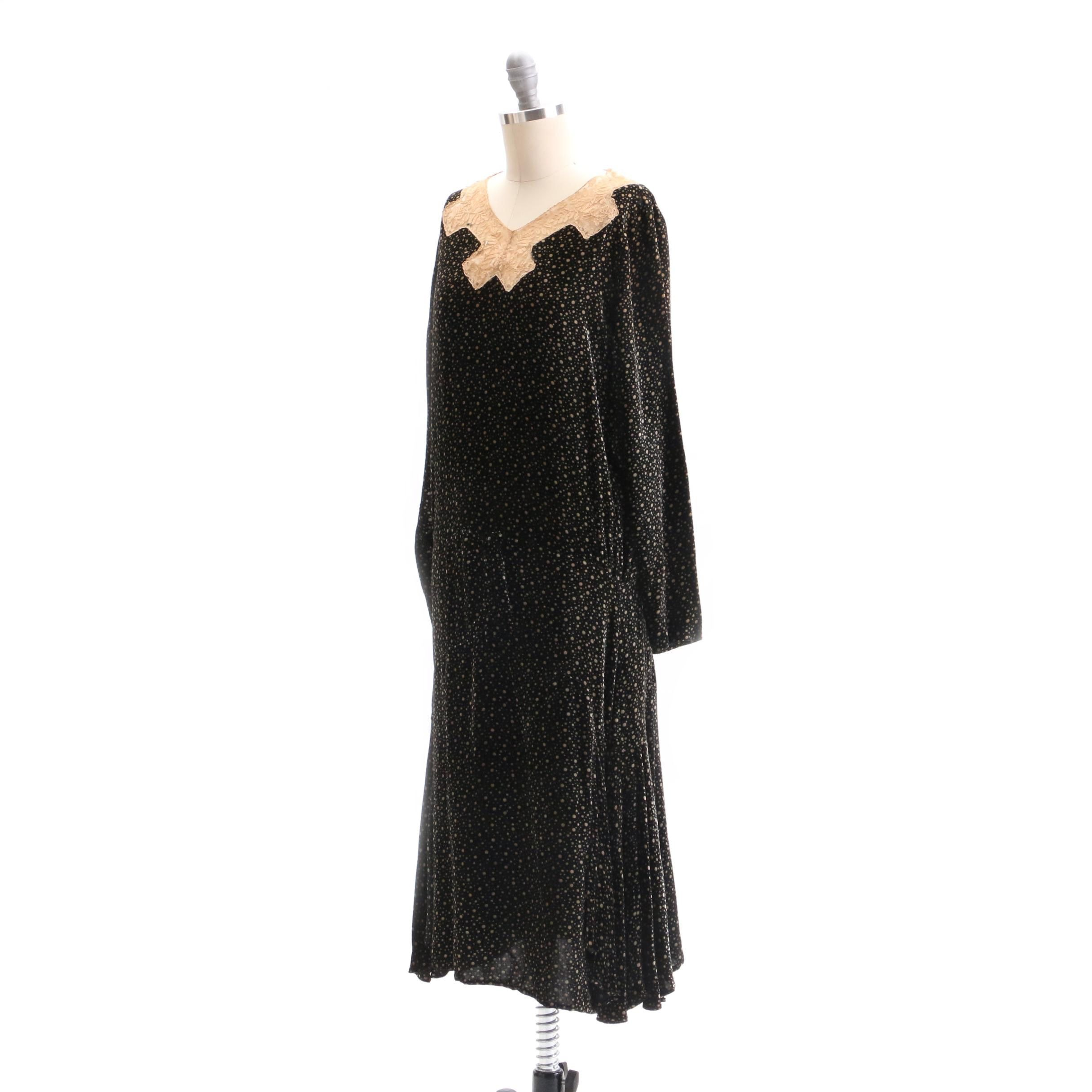Circa 1920s Vintage Velveteen Dress with Slip