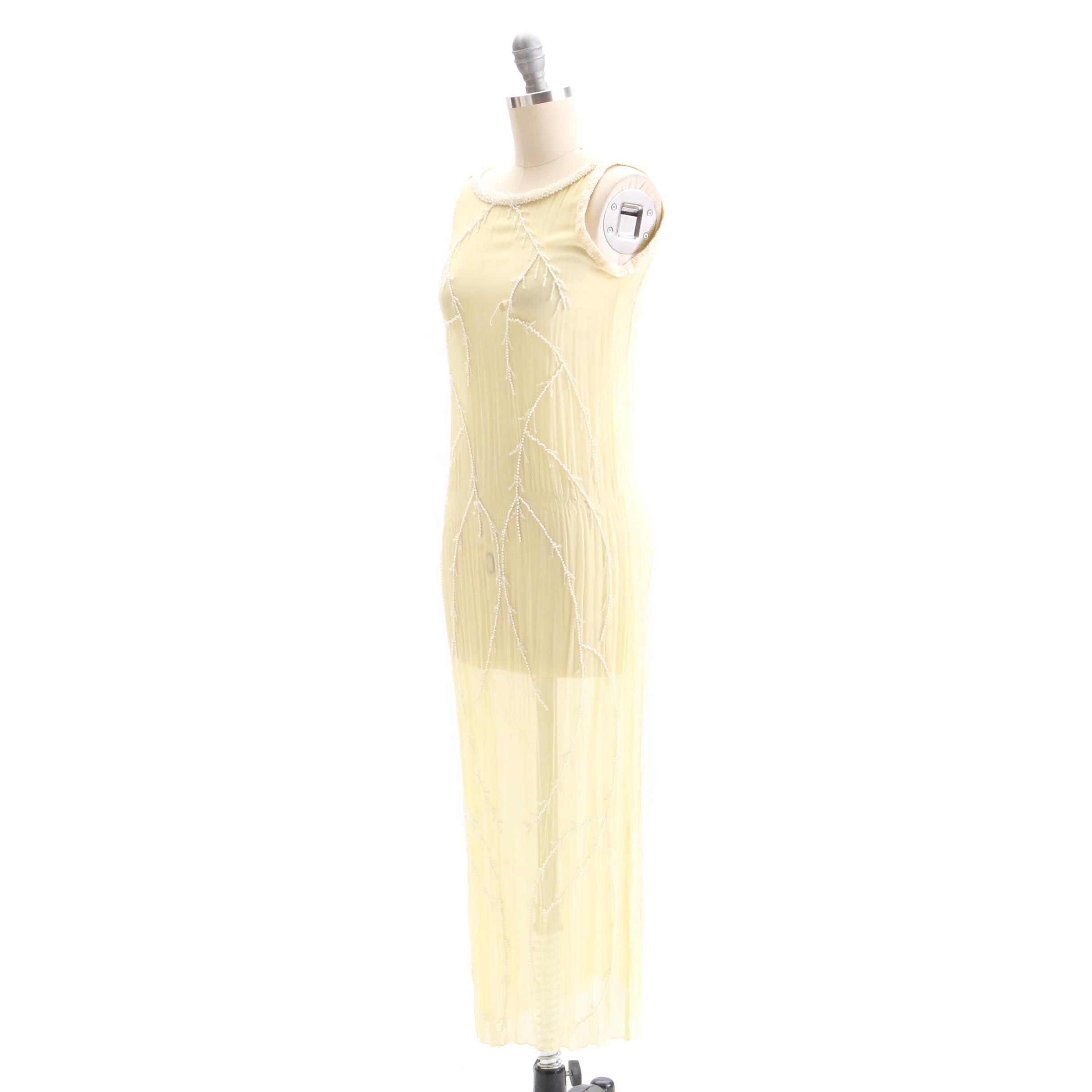 Circa 1920s Vintage Pale Yellow Silk Bead Embellished Dress