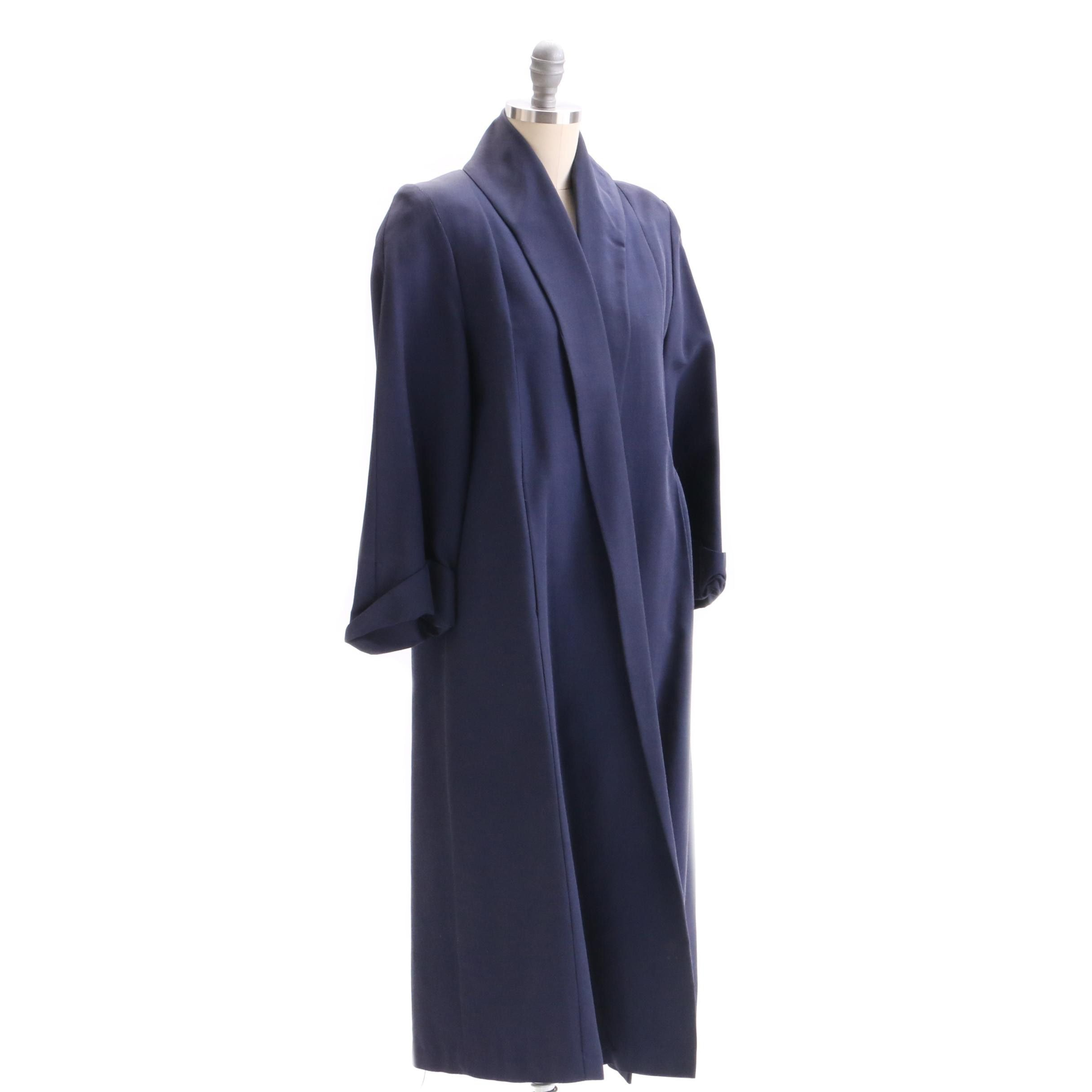 Circa 1950s Vintage Navy Blue Grosgrain Swing Coat