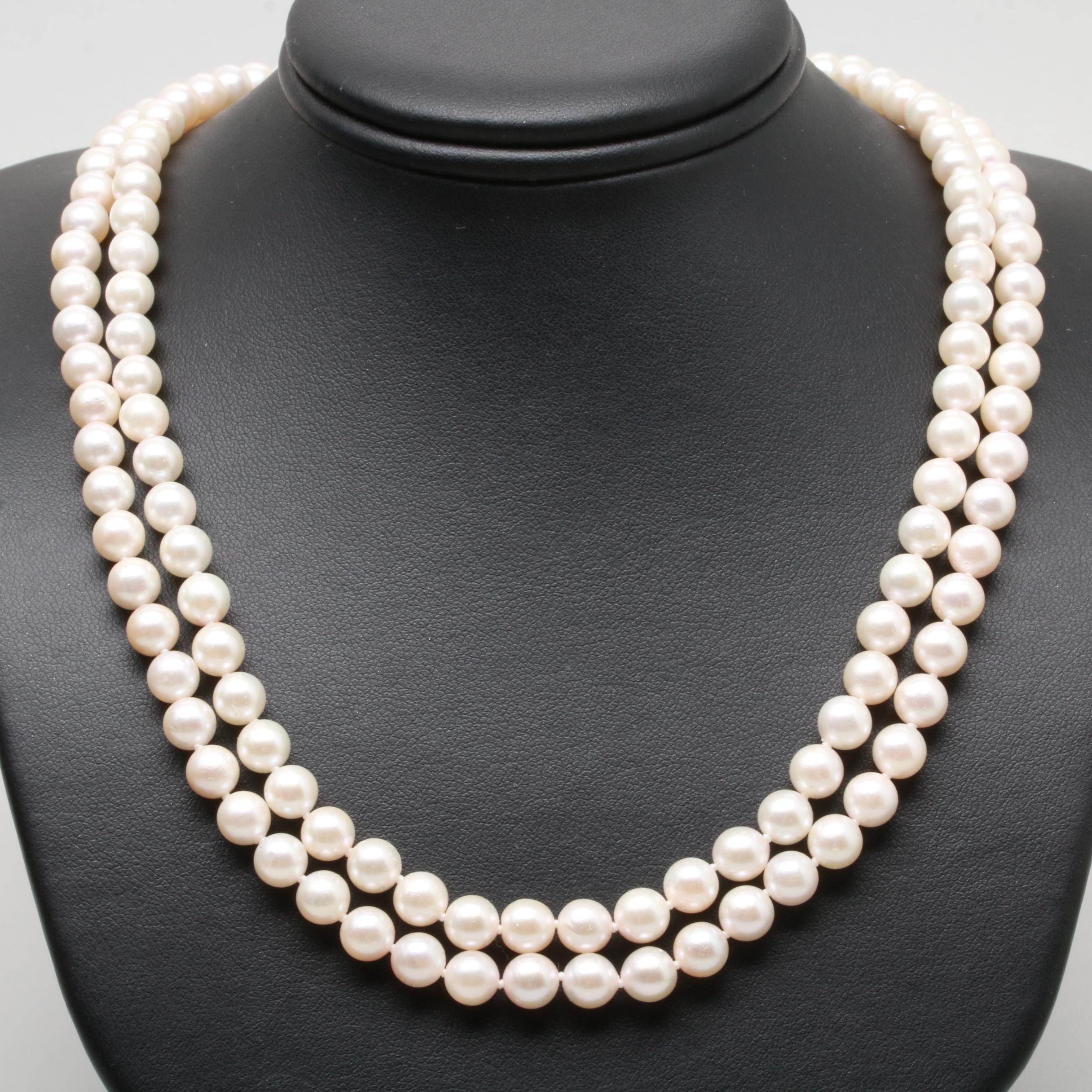 14K Yellow Gold Cultured Pearl, Ruby and Diamond Necklace