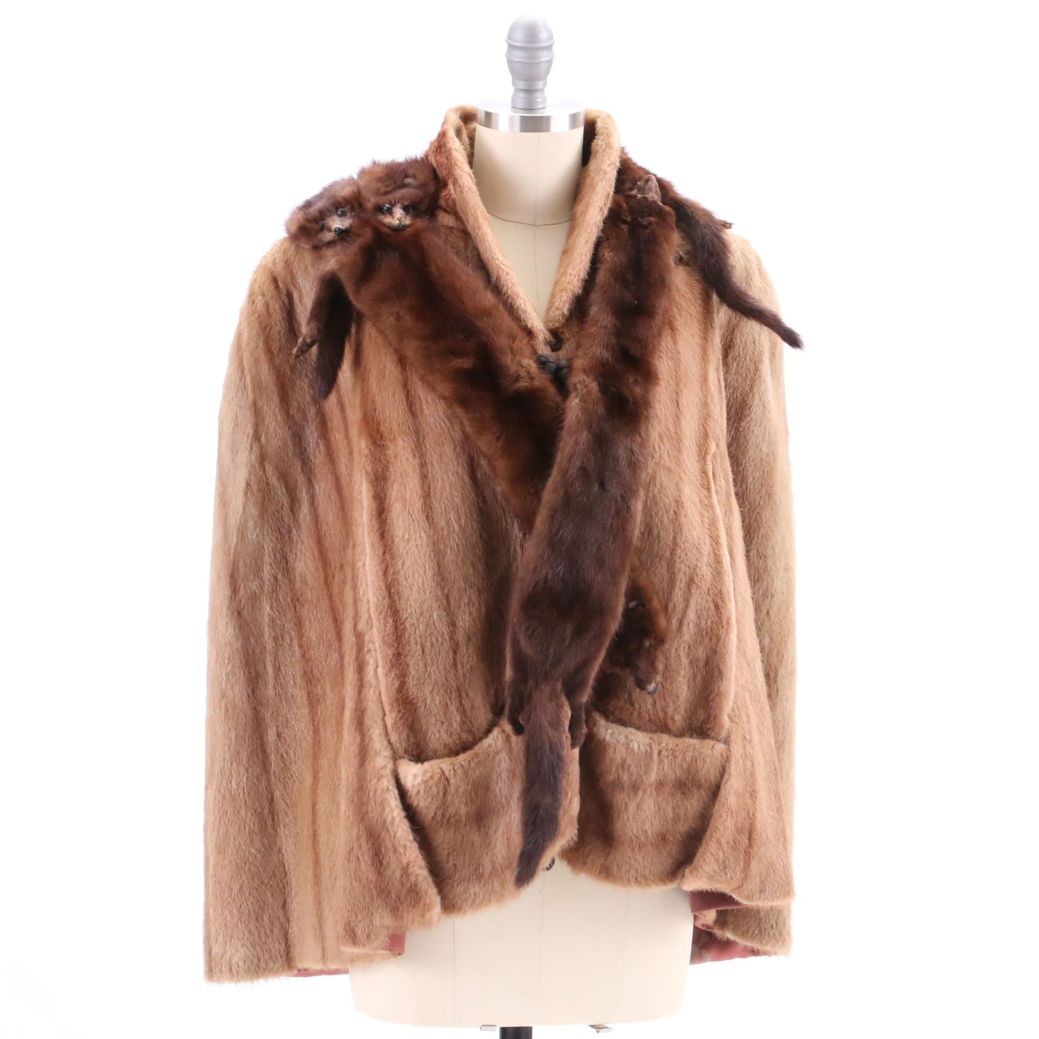 Vintage Mink-Dyed Blonde Beaver Fur Cape and Brown Mink Pelt Stole