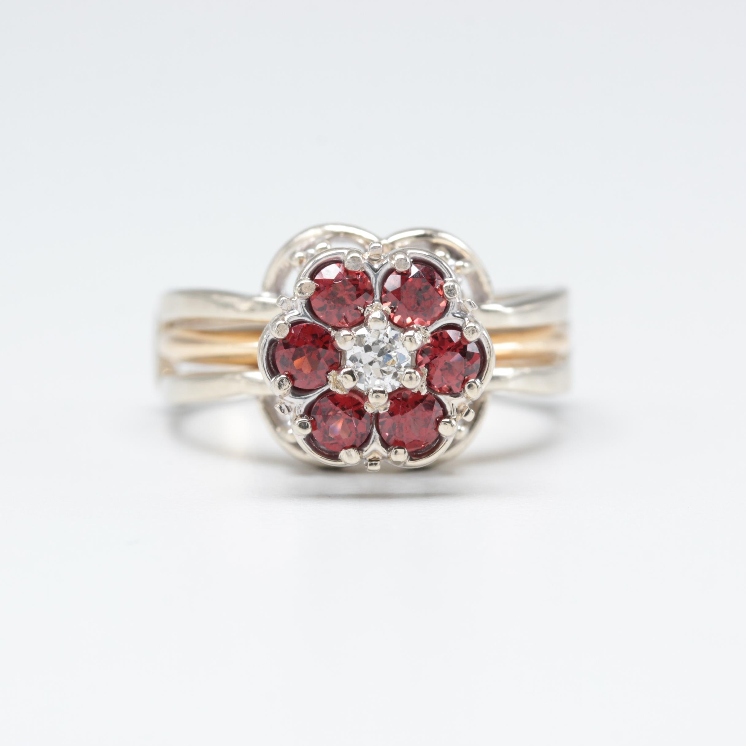 14K White and Yellow Gold Diamond and Garnet Ring Set