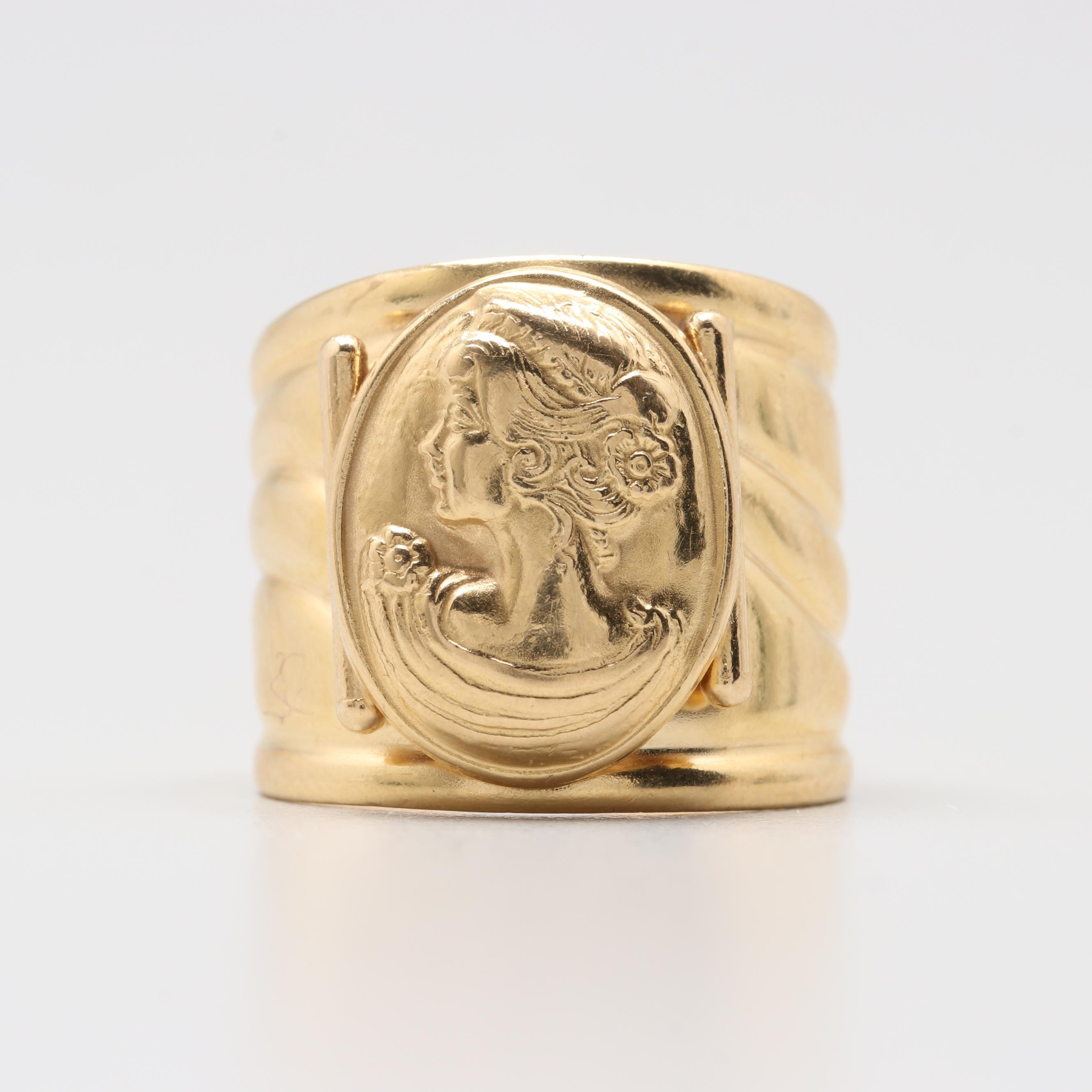 18K Yellow Gold Embossed Cameo Ring