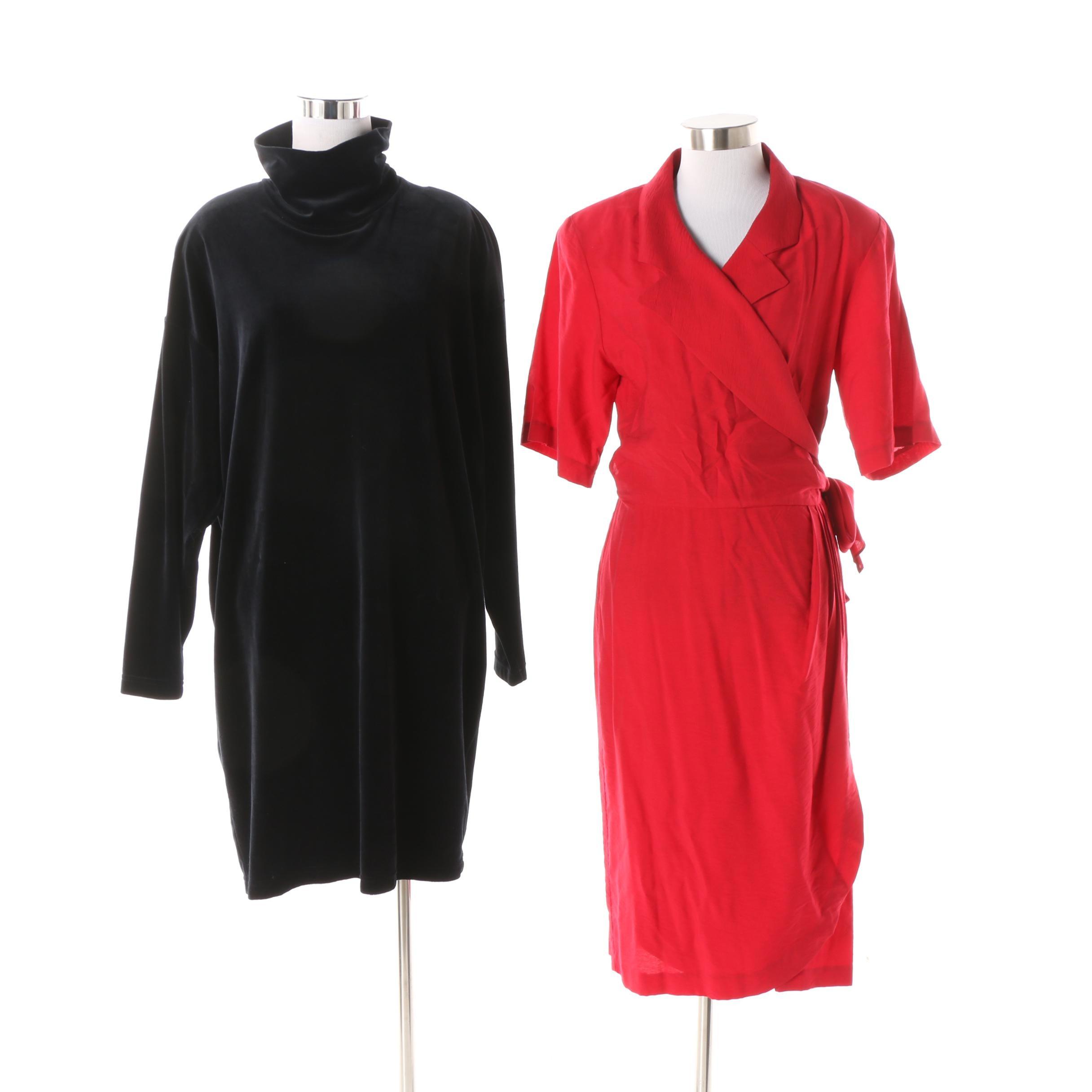 Vintage Ann Taylor Wrap Dress and Tape Measure New York Velvet Turtleneck Dress