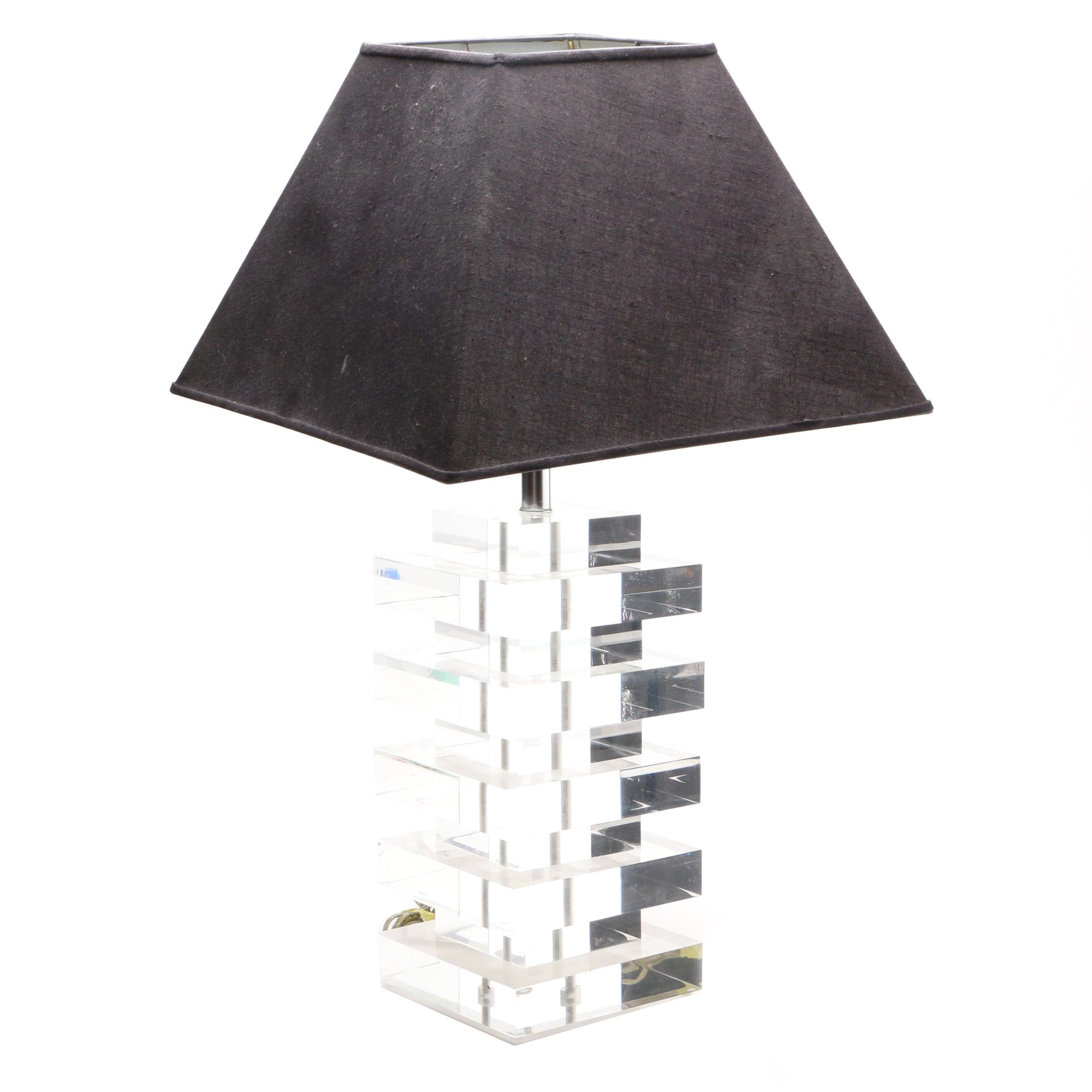 Mid Century Modern Style Stacked Clear Acrylic Table Lamp Ebth