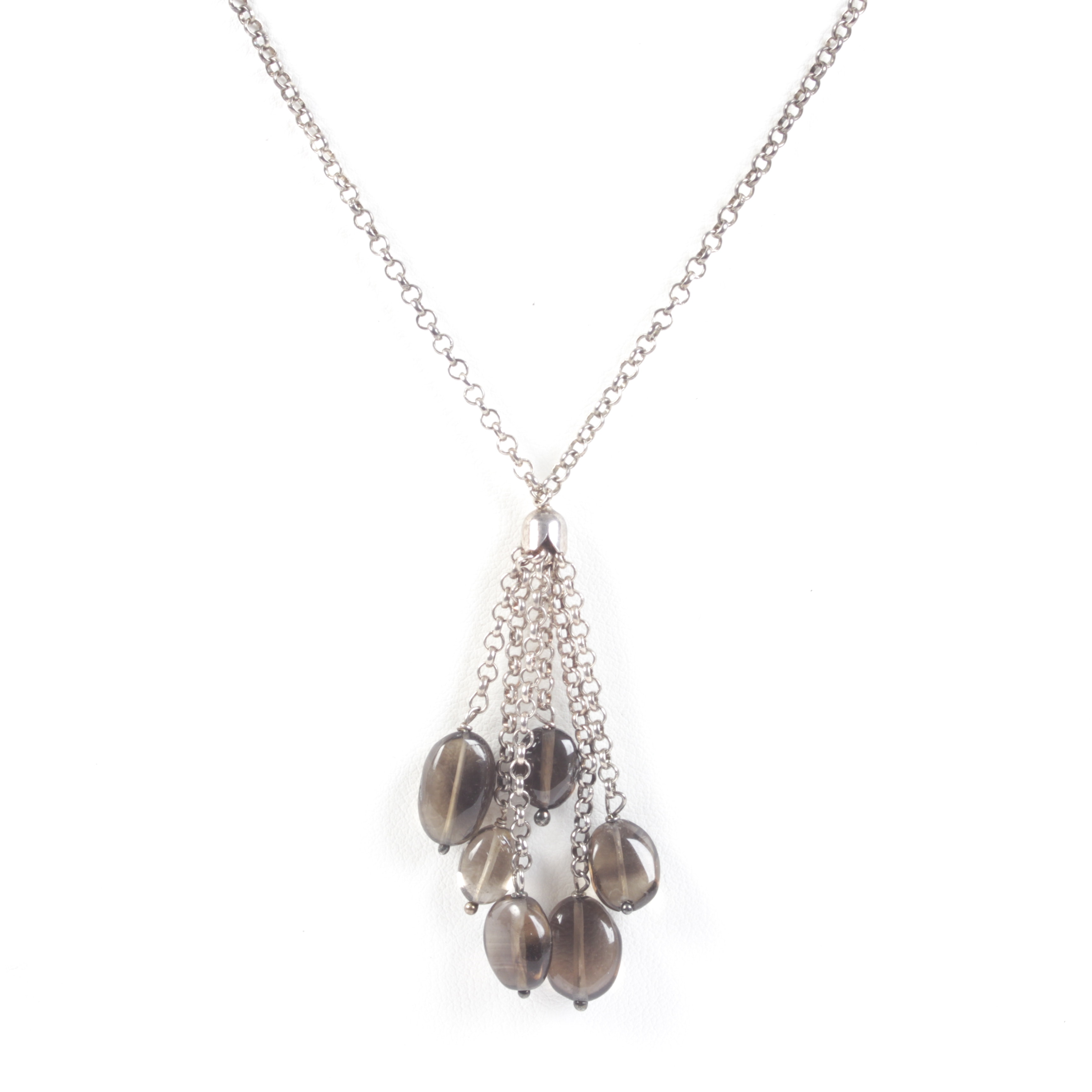 Sterling Silver and Smoky Quartz Dangle Necklace