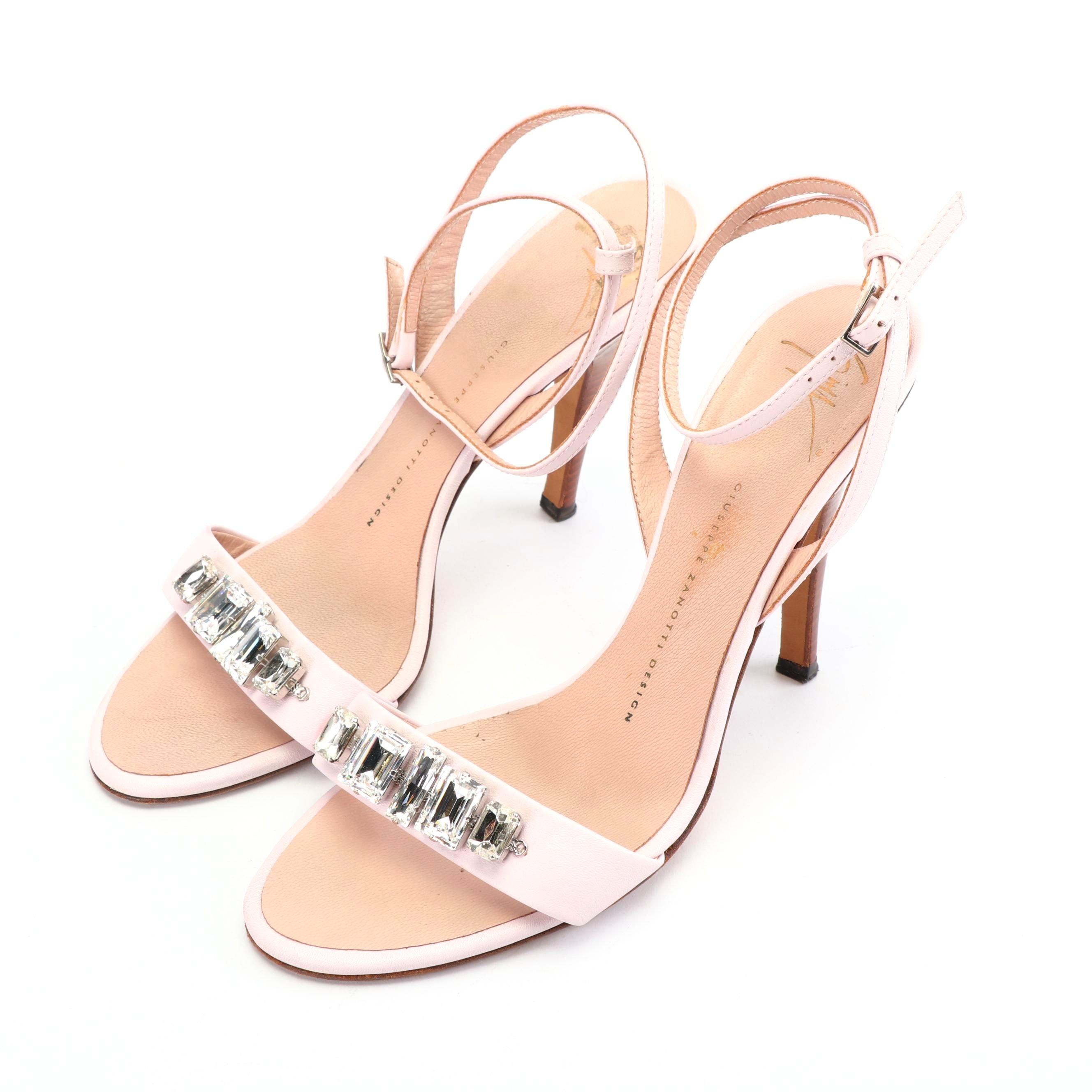 Women's Giuseppe Zanotti Rhinestone Embellished Pink Leather Sandals