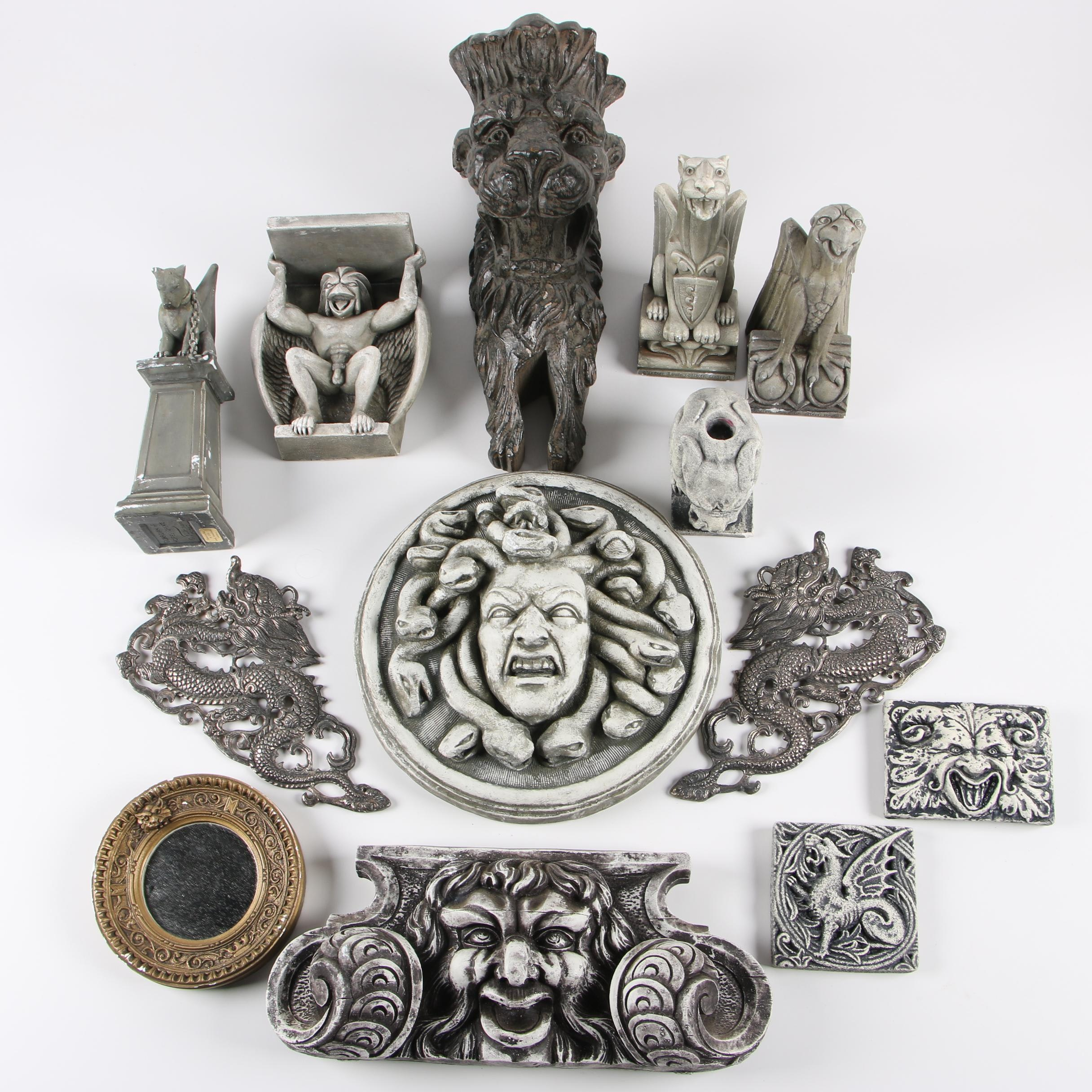 JWH Studio Plaster Gargoyles, Gothic Wall Hangings, and More