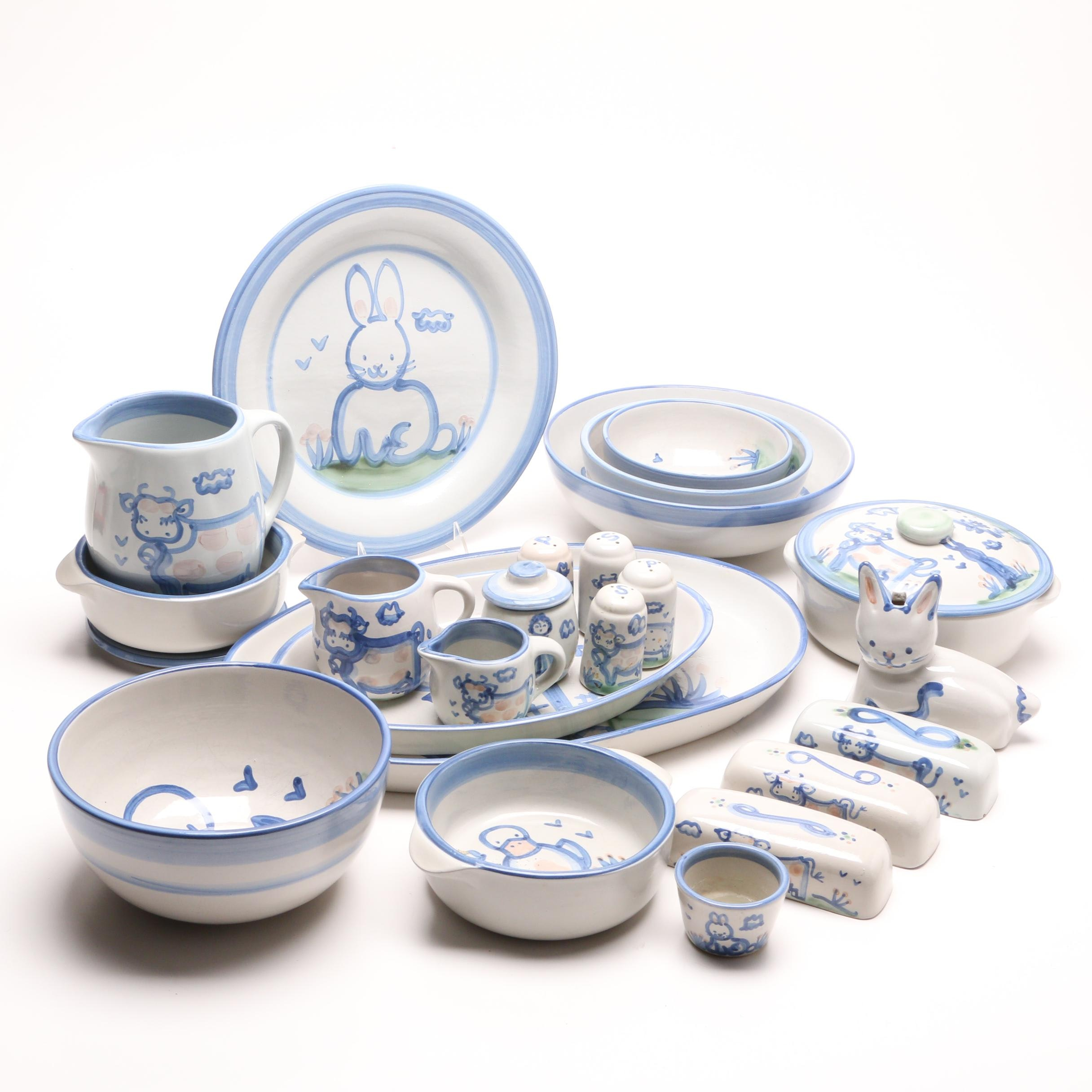 "M.A. Hadley ""Country Scene Blue"" Serveware and Tableware"