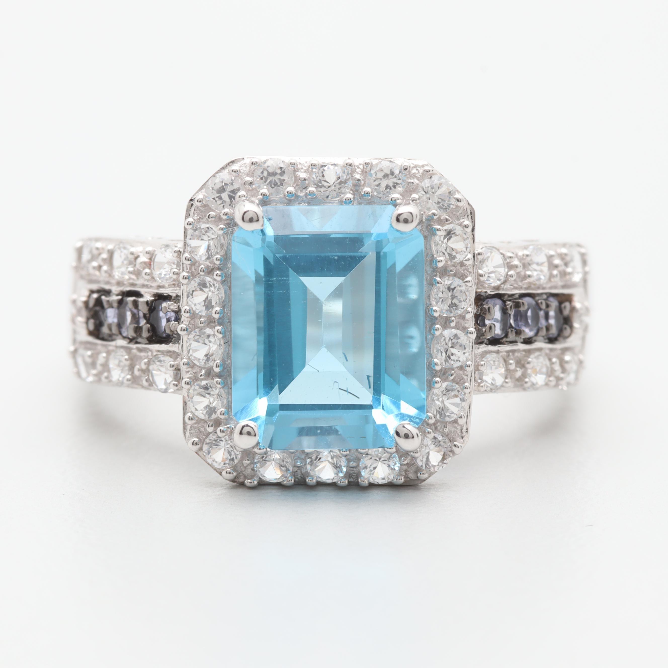 14K White Gold Blue Topaz, Tanzanite, Diamond, and White Sapphire  Ring