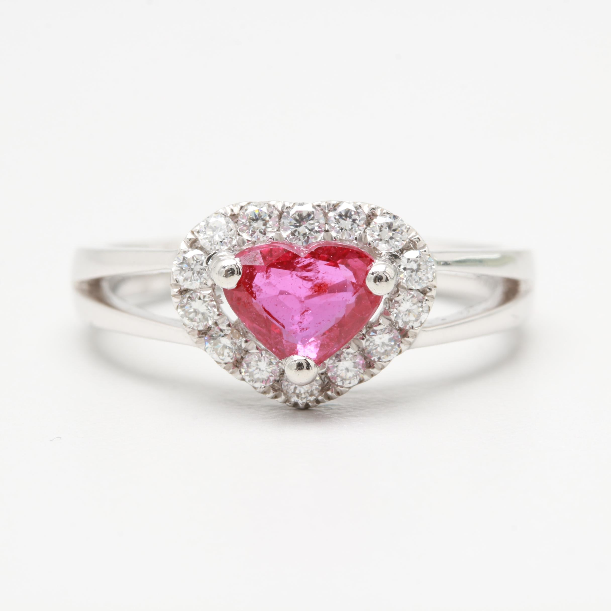 Platinum Untreated 1.02 CT Ruby and Diamond Ring With GIA Report