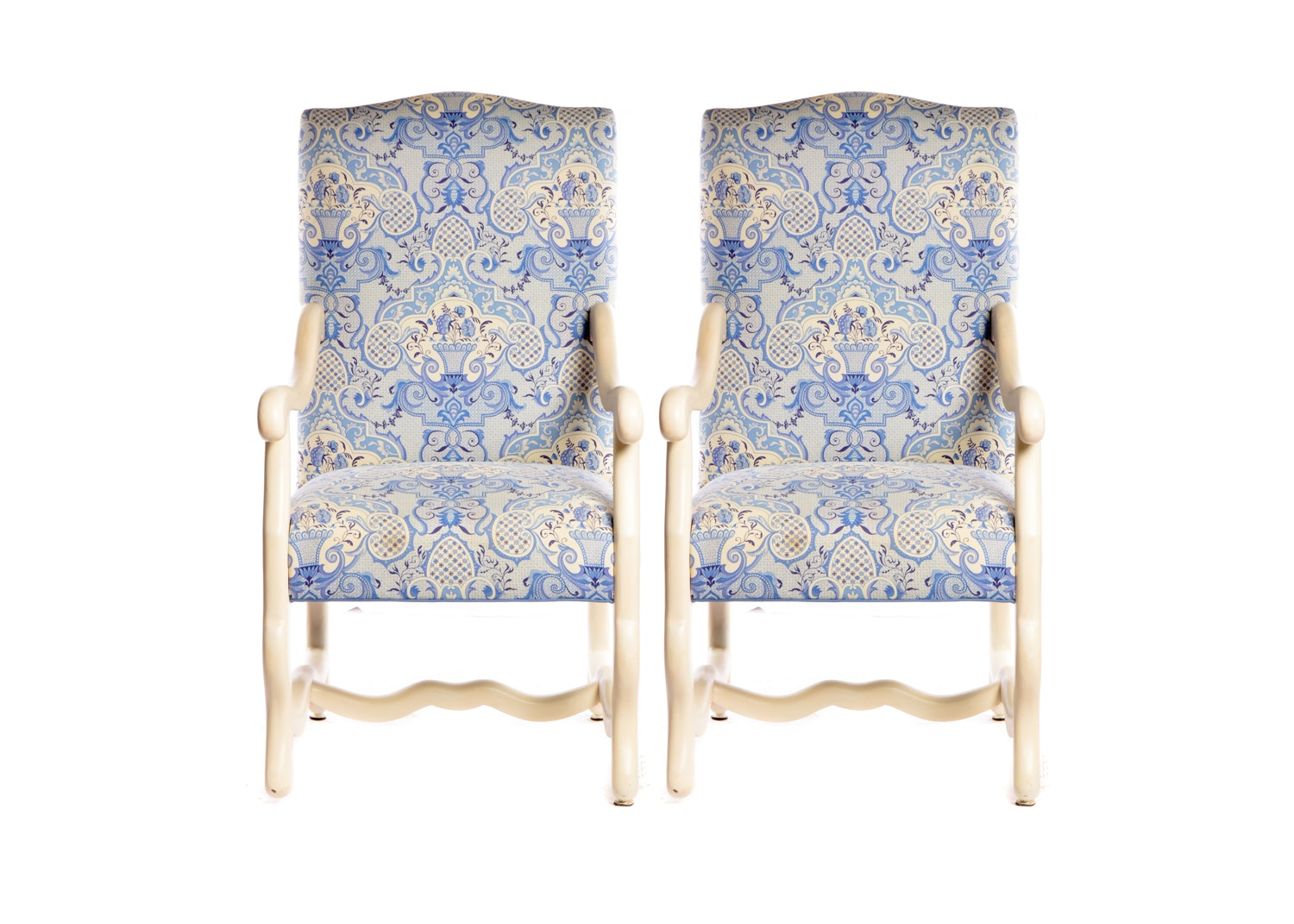 Louis XIII Style Painted Wood Frame Upholstered Armchairs, 21st Century