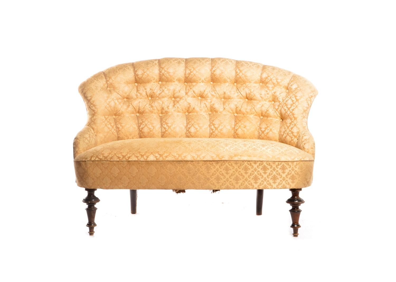 Button Tufted Armless Loveseat, 20th Century