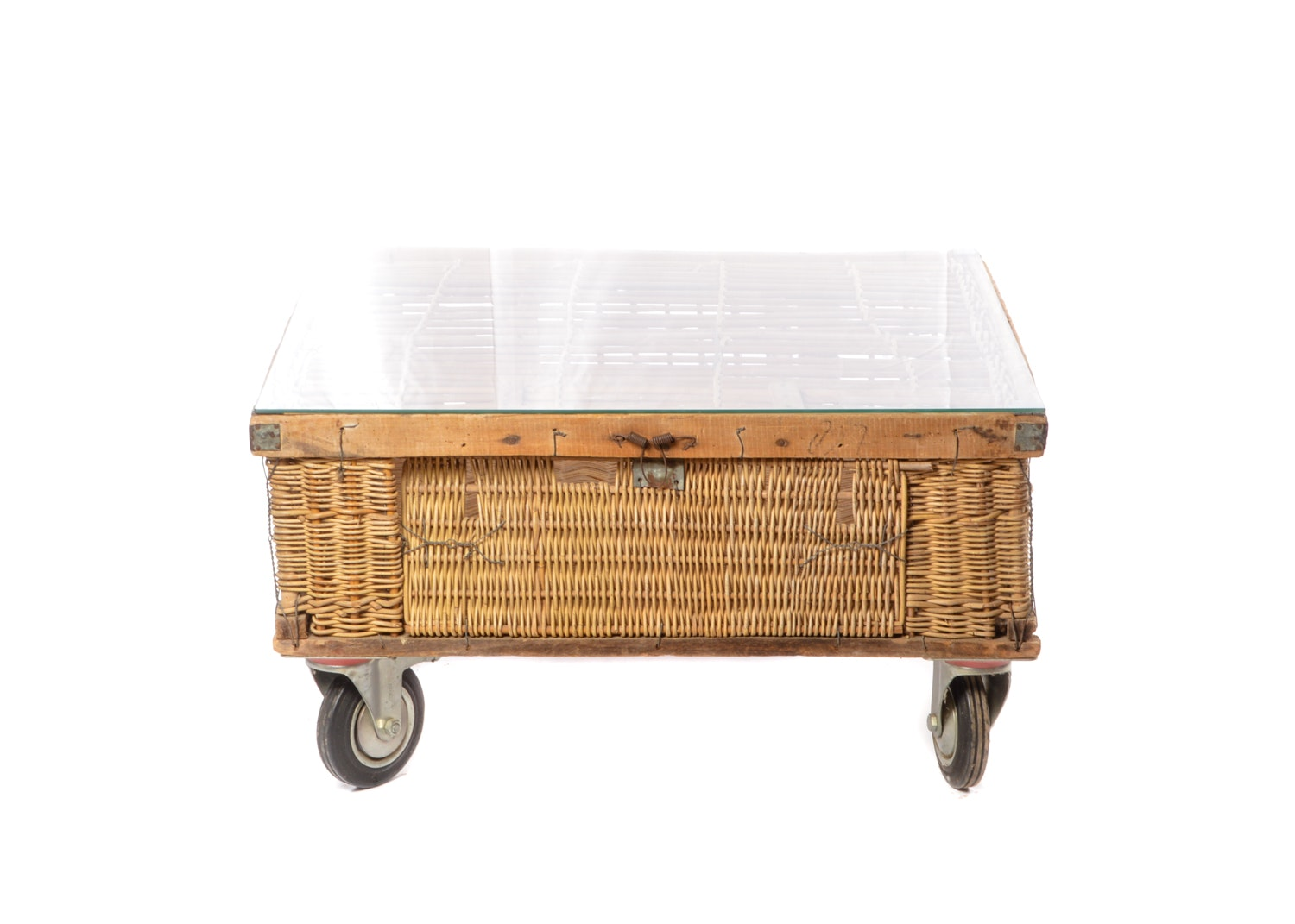 Wicker Pigeon Trap Coffee Table with Glass Top on Casters, 20th Century