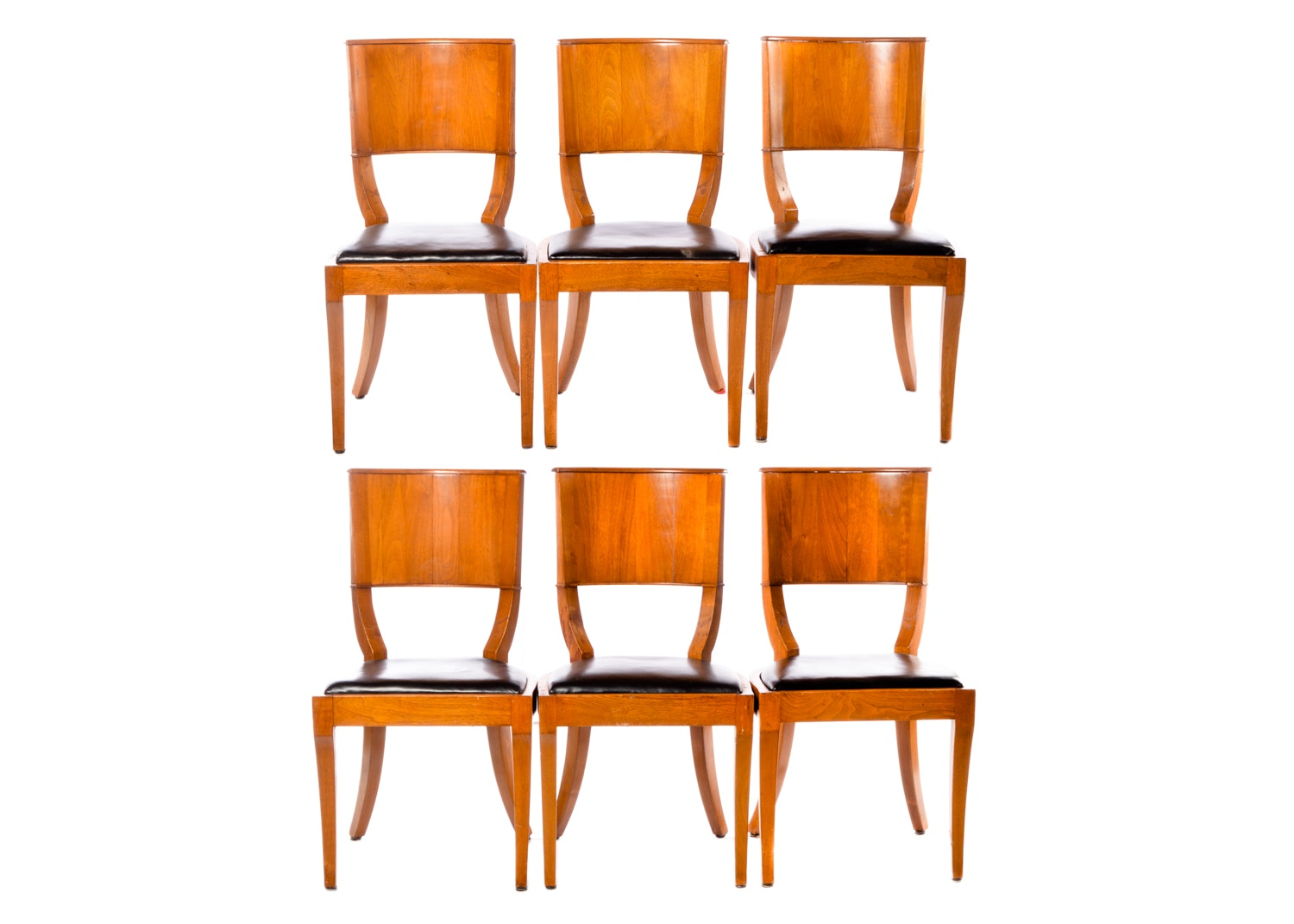 Art Deco Style Nut Wood Klismos Chair Set, 20th Century