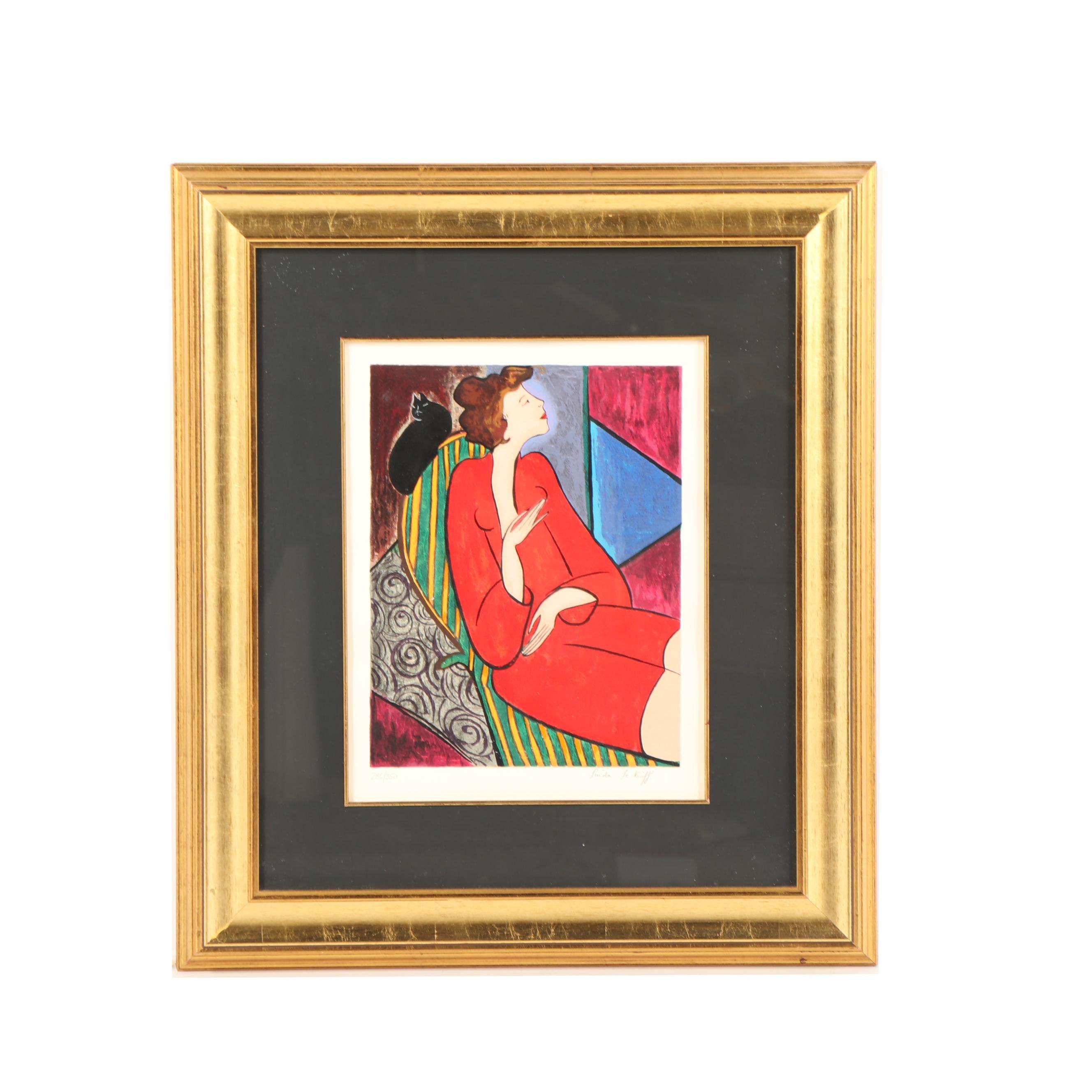 Linda Le Kinff 20th Century Serigraph Portrait
