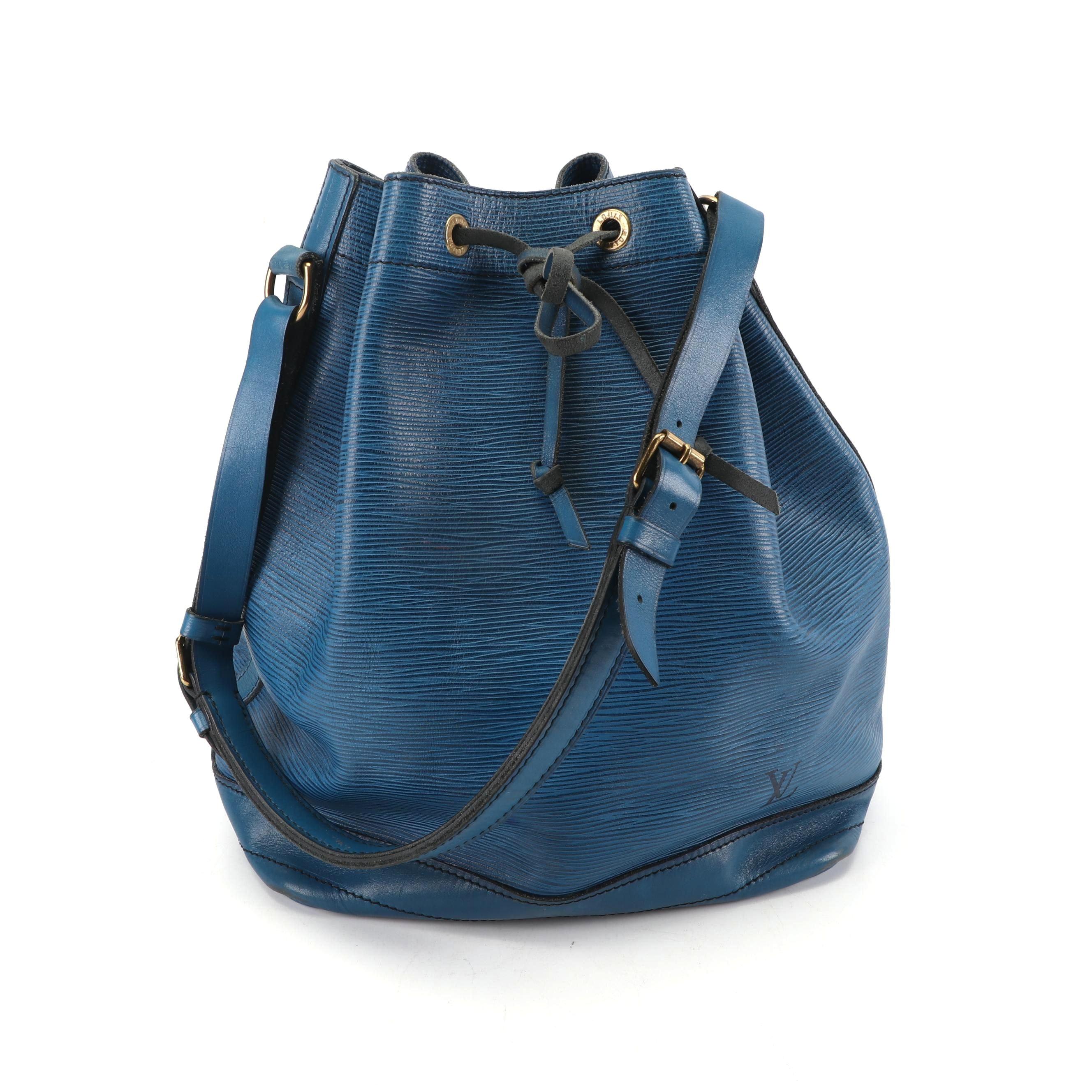 1986 Vintage Louis Vuitton of Paris Cyan Epi Leather Noe Bucket Bag