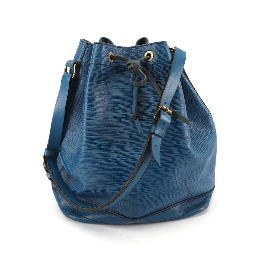 c0b9b21fb4443 1986 Vintage Louis Vuitton of Paris Cyan Epi Leather Noe Bucket Bag   EBTH