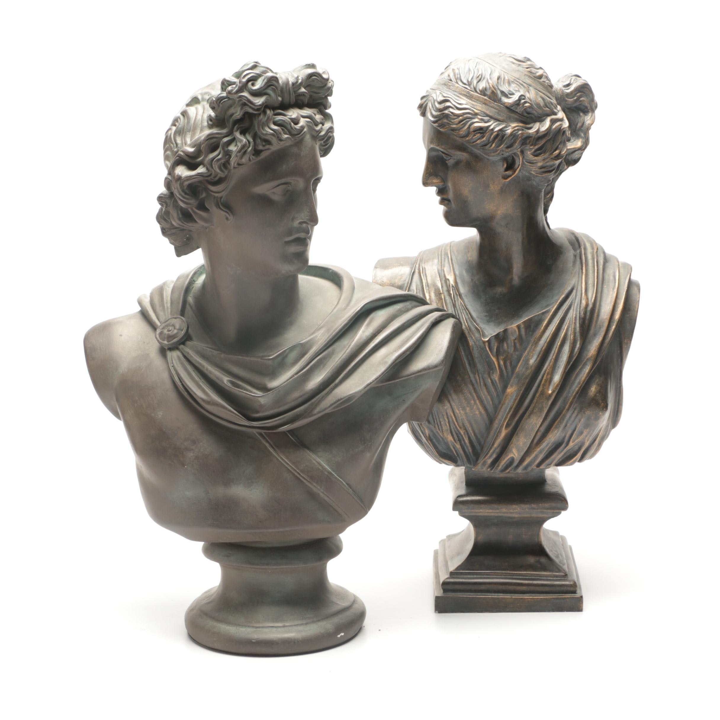 Large Contemporary Plaster Busts of Apollo and Aphrodite