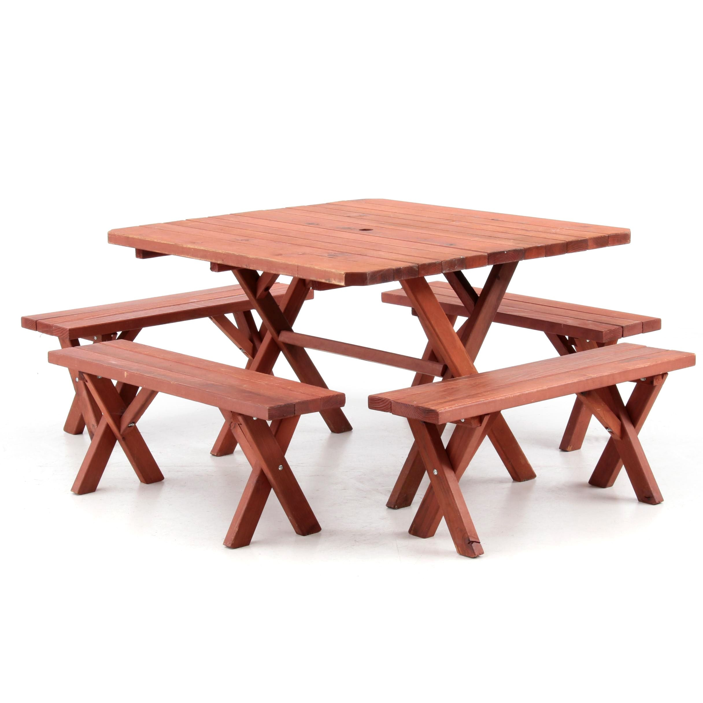Pine Patio Table and Benches with Redwood Stain