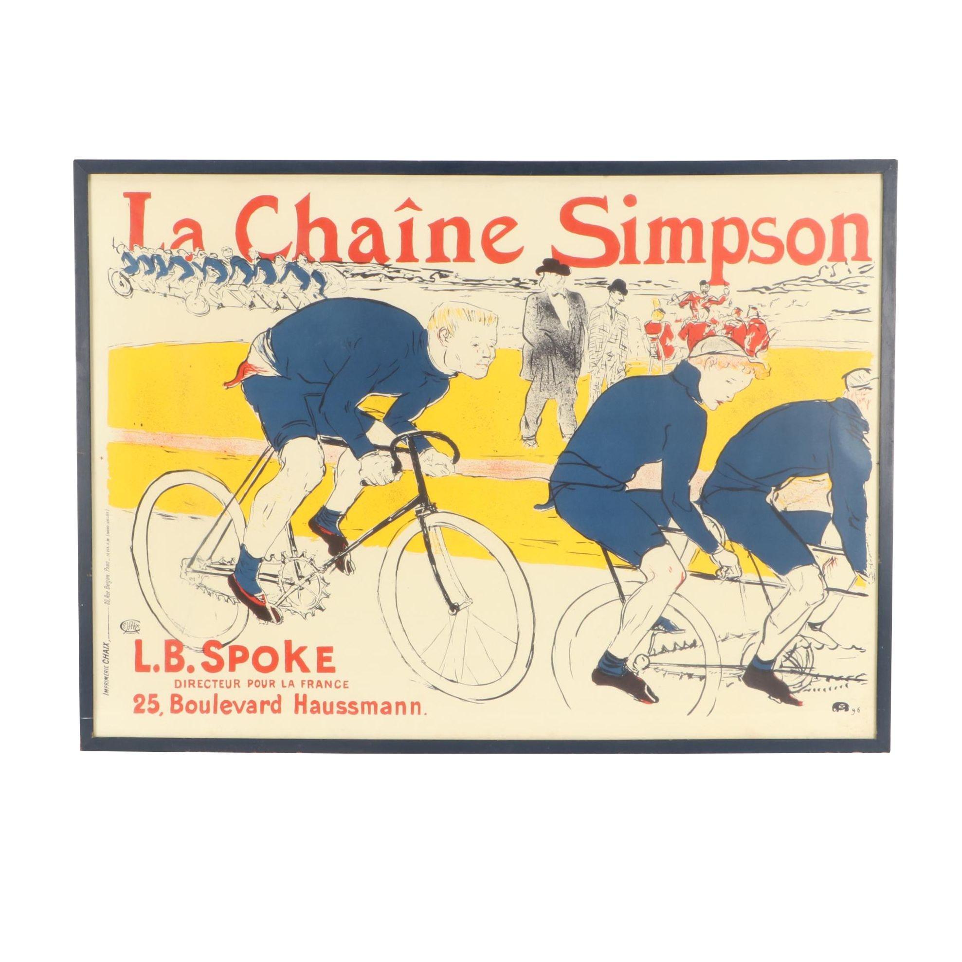 """Lithographic Poster after Henri de Toulouse-Lautrec """"La Chaîne Simpson"""""""