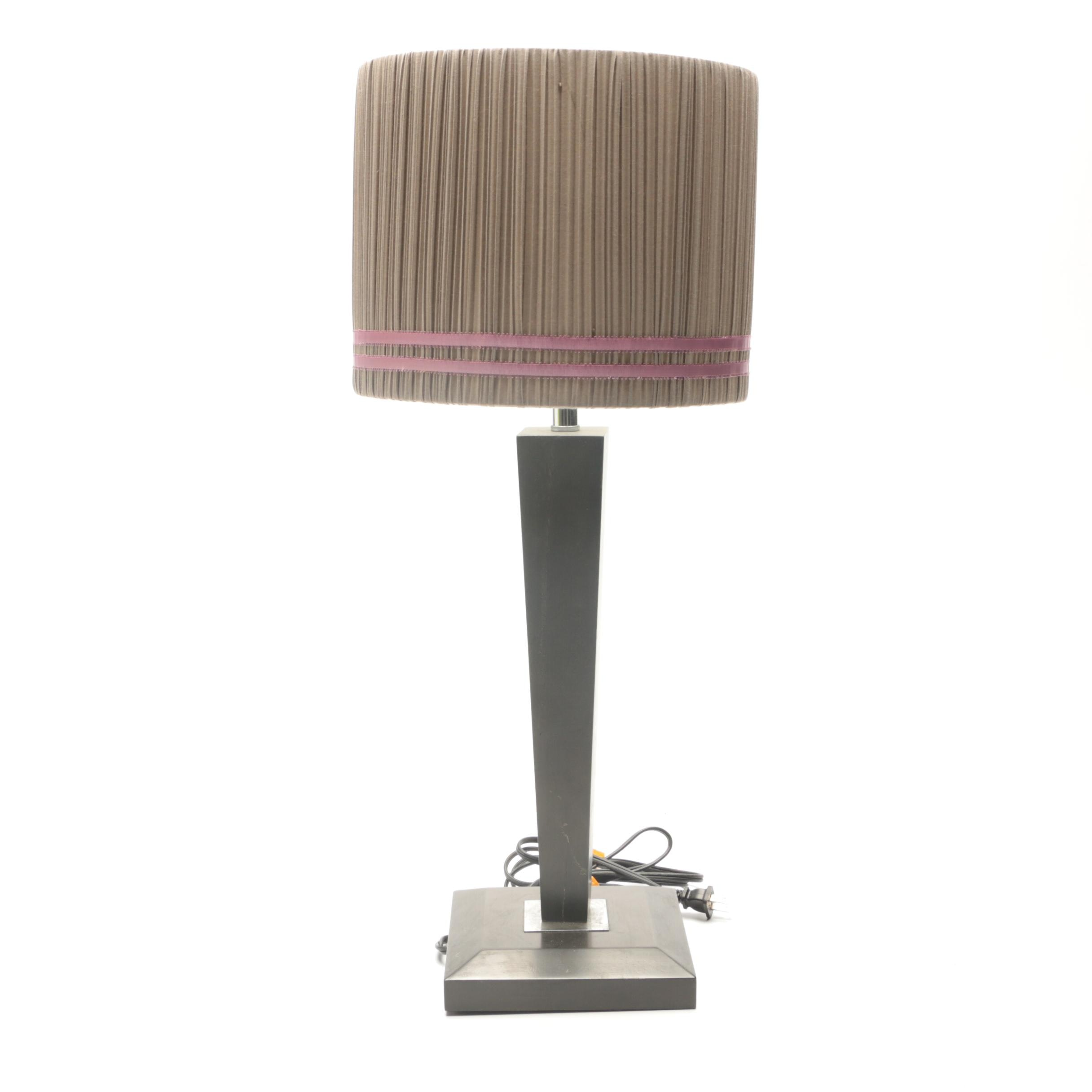 Contemporary Tapered Wood Table Lamp with Drum Shade