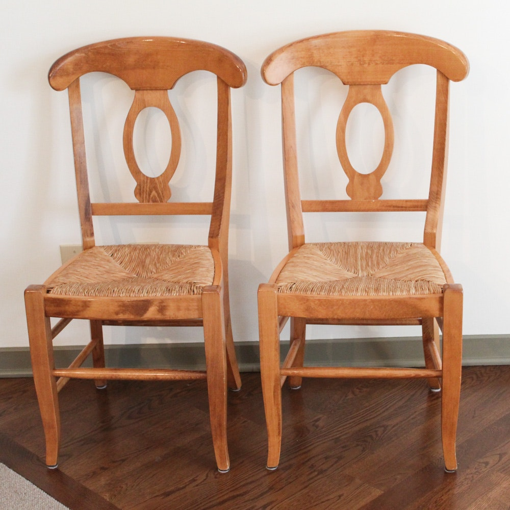Contemporary Maple Finish Dining Chairs with Rush Seats by Pottery Barn