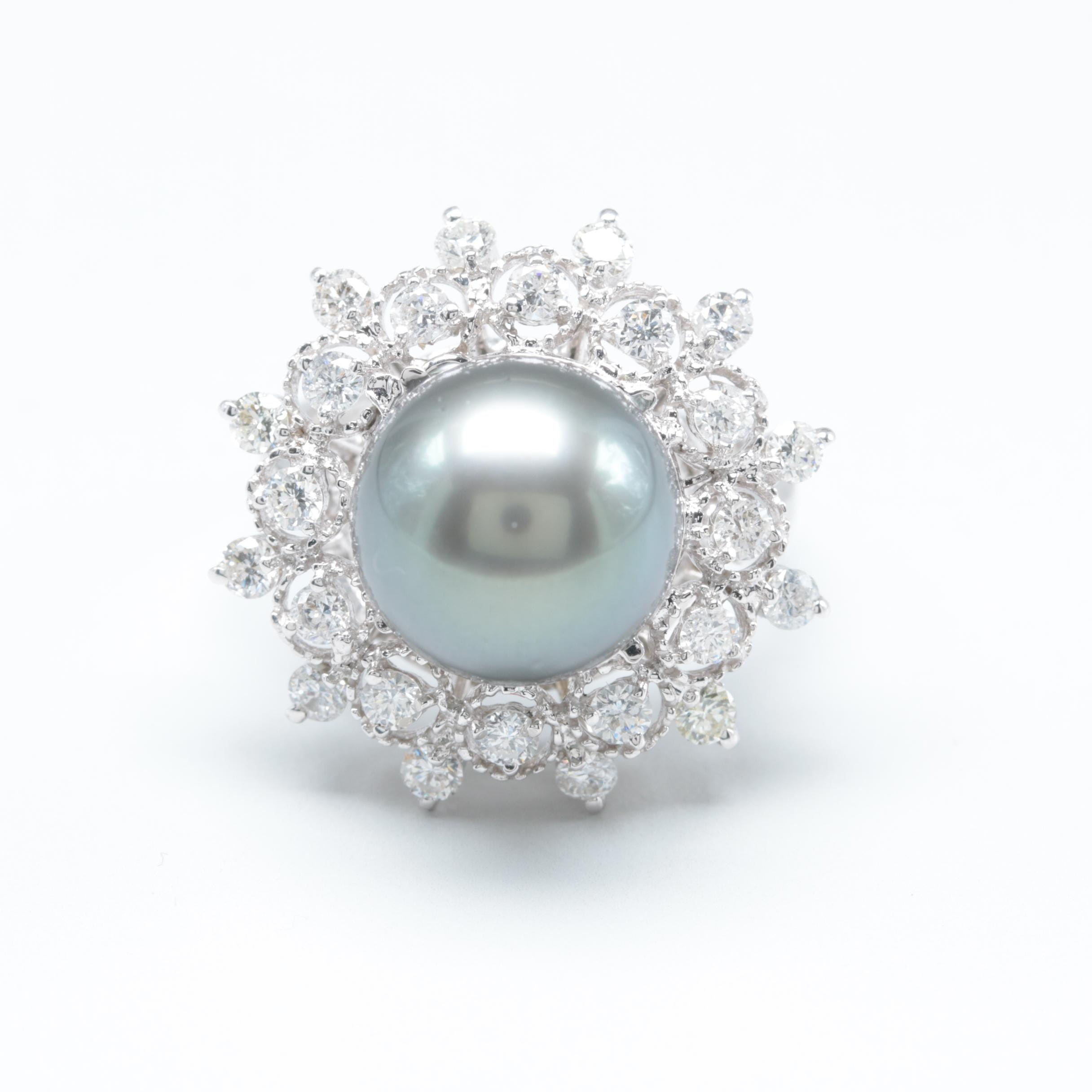 14K White Gold Cultured Pearl and 1.14 CTW Diamond Ring