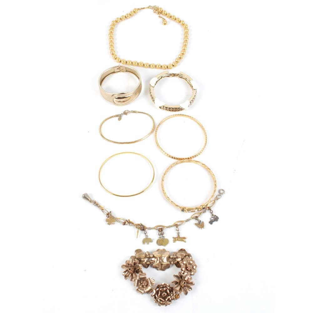 Grouping of Gold Tone Costume Bracelets and Necklace