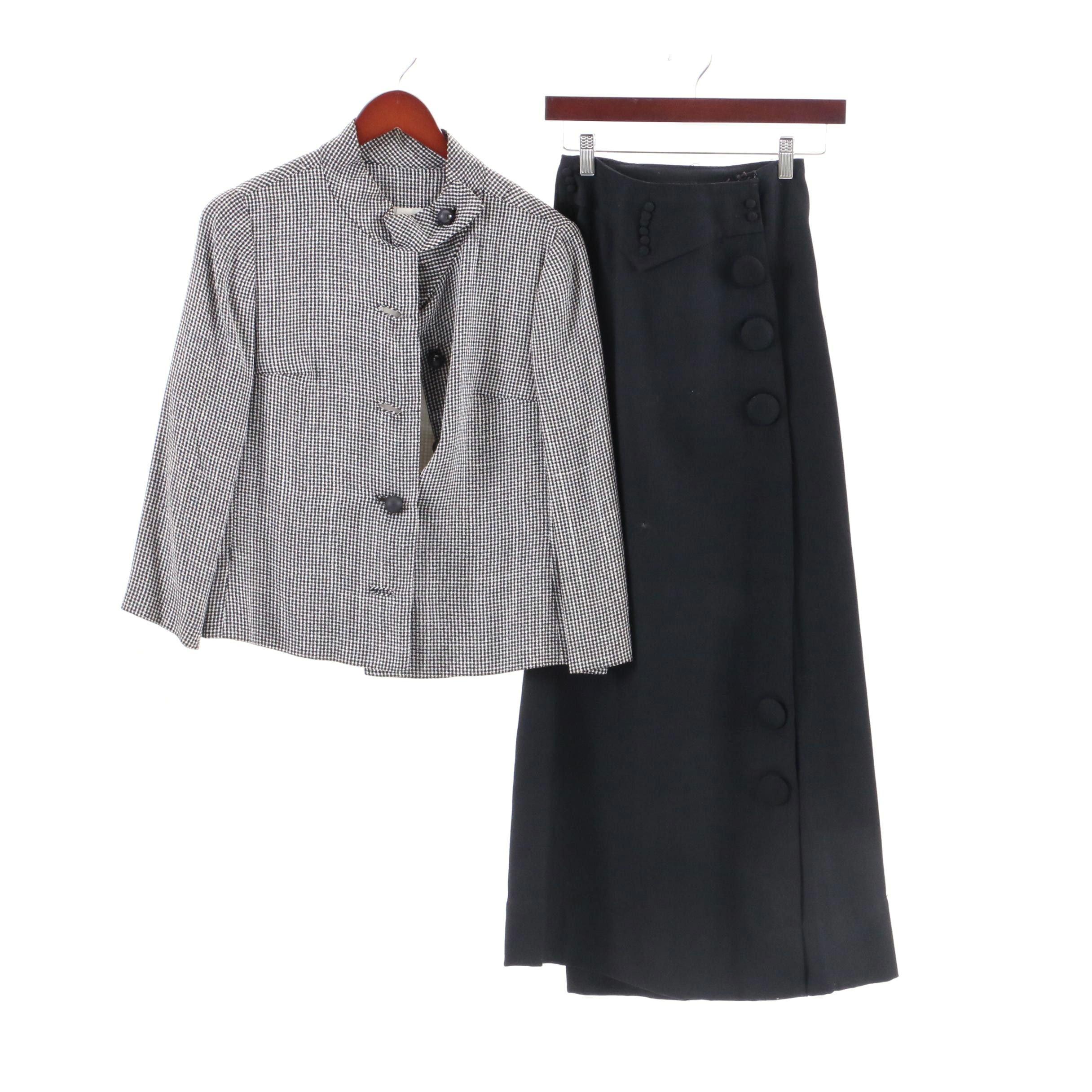 Circa 1950s Vintage Hal Leurs  Jacket and Black Skirt