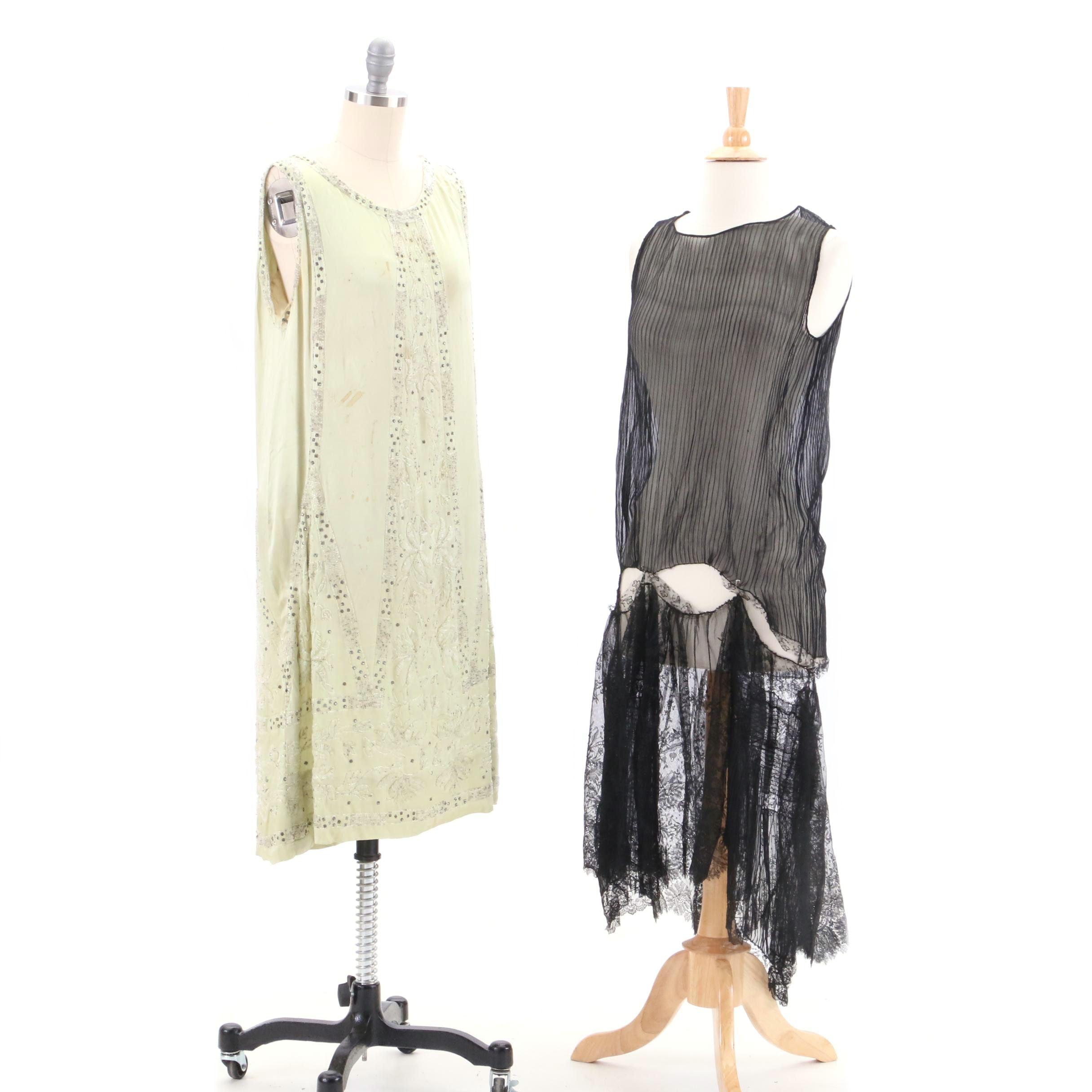 Circa 1920s Vintage Art Deco Silk Dresses