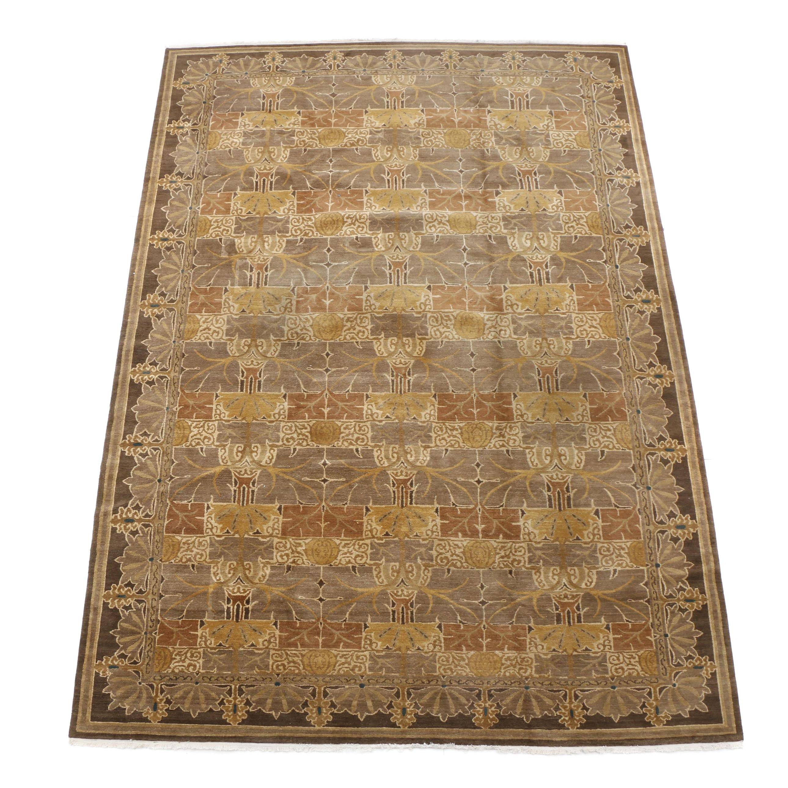 """Hand-Knotted Nepalese """"Mission Tree Spice"""" Wool Room-Size Rug"""