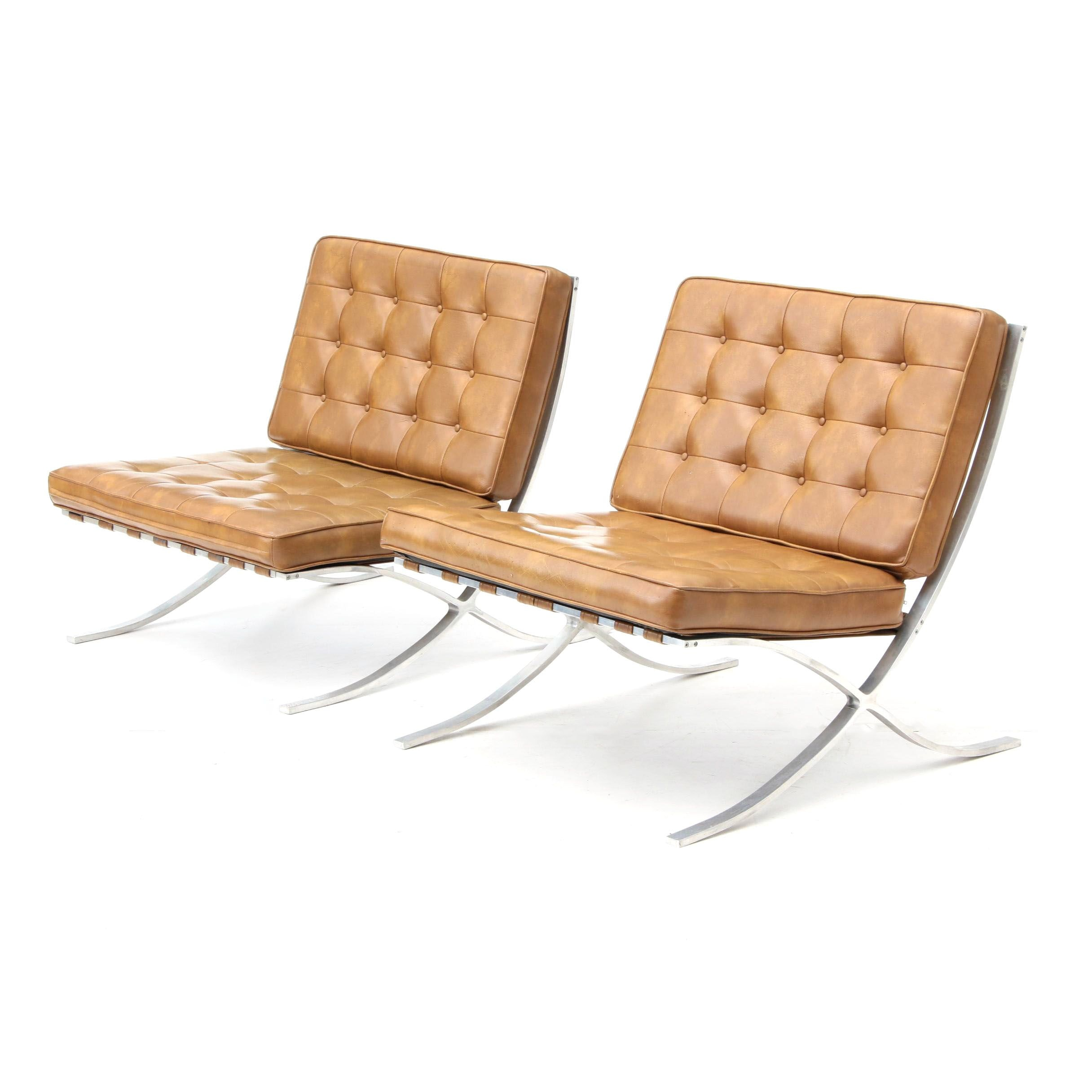 Pair of Barcelona Style Chairs, Mid-20th Century