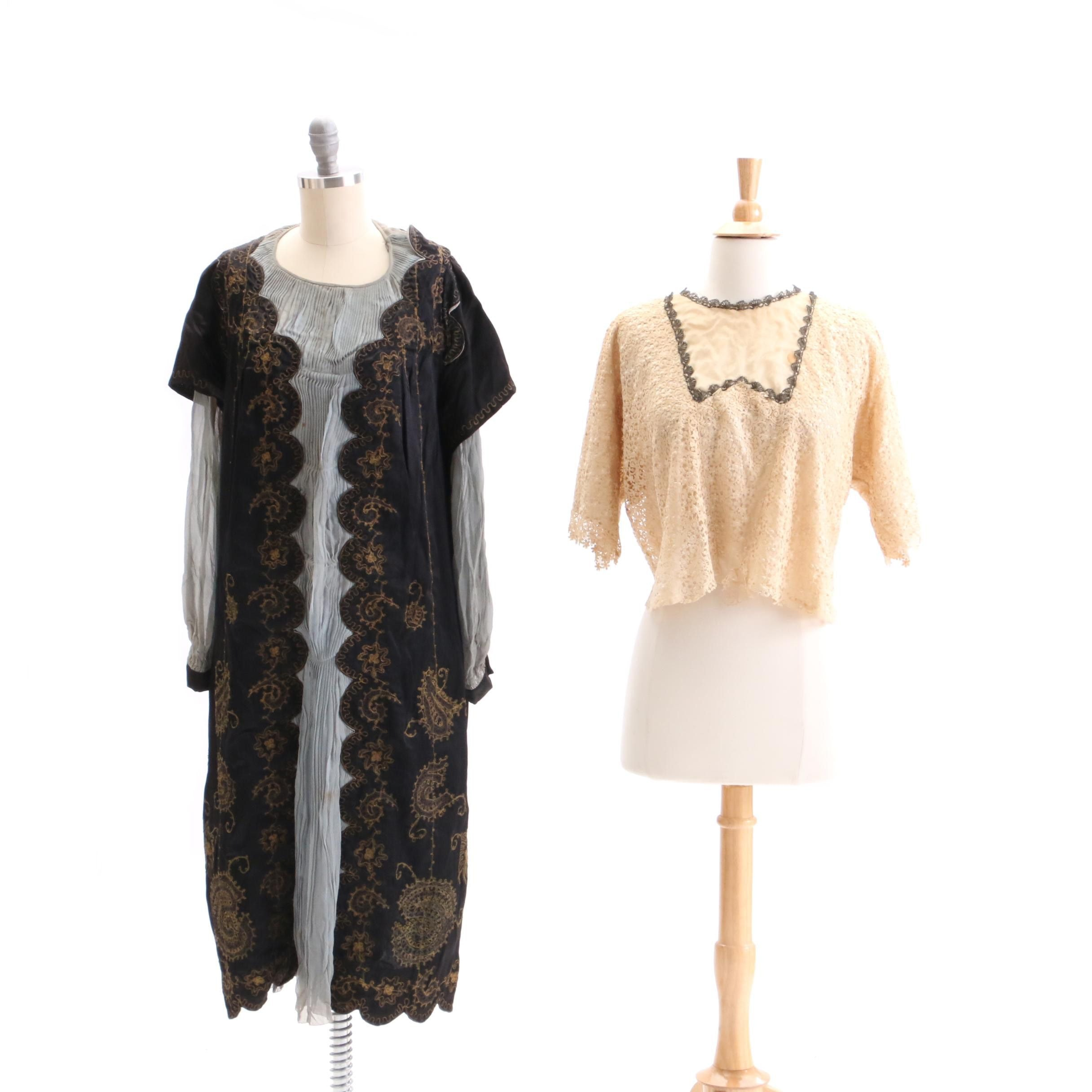 Circa 1920s Vintage Bullion Embroidered Silk Dress and Lace Blouse