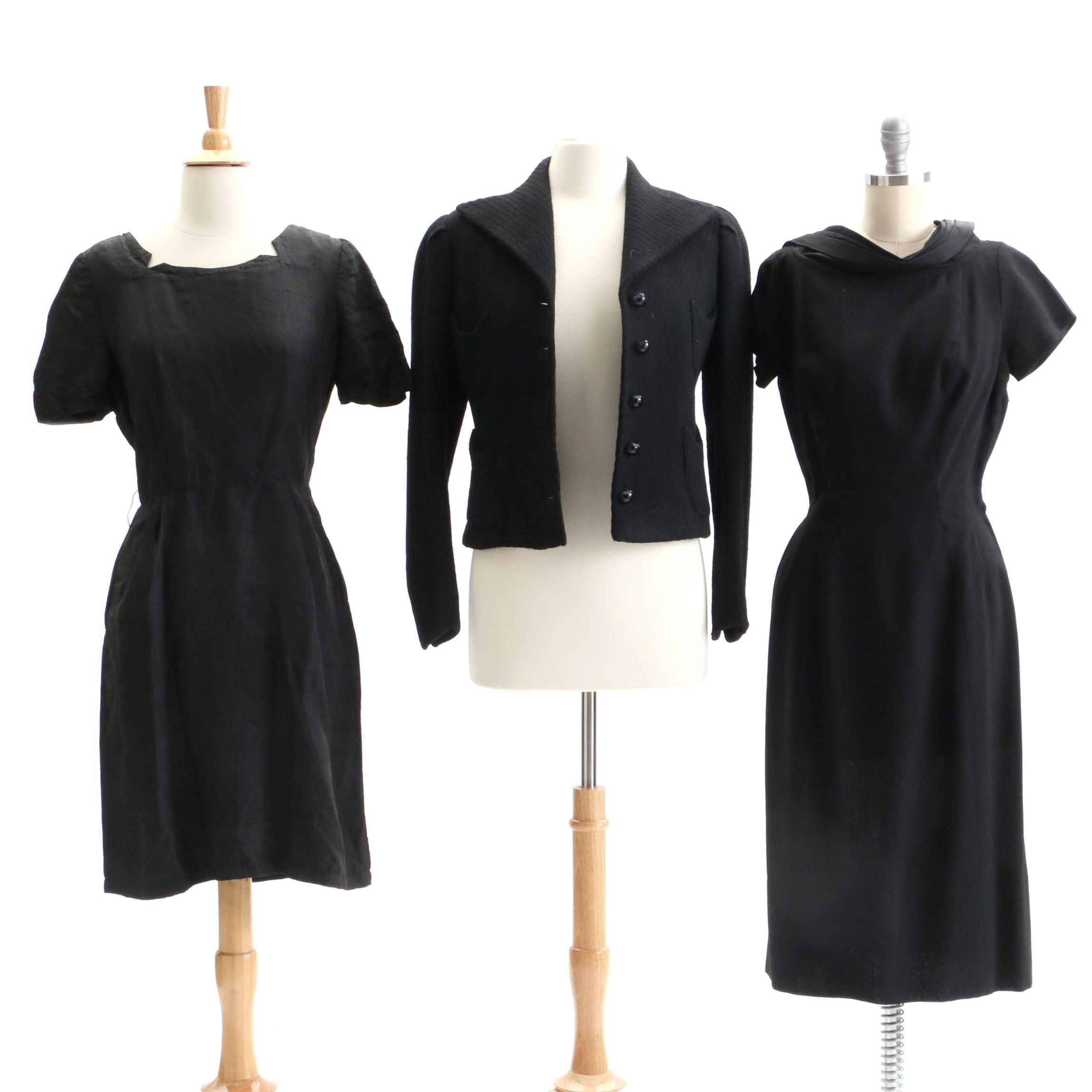 Circa 1960s Vintage Black Cocktail Dresses and Jacket