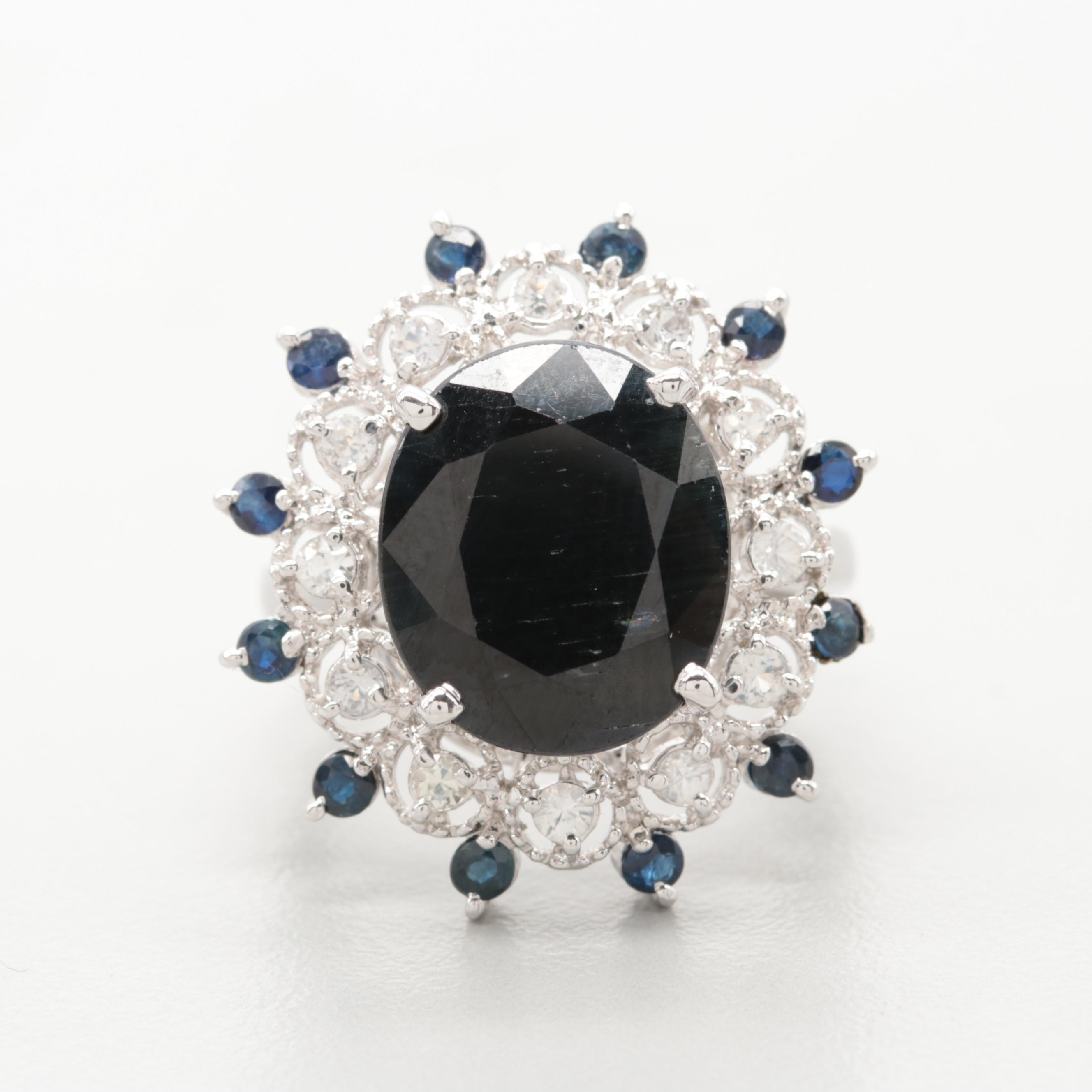 Sterling Silver Sapphire, Filled Corundum, and White Topaz Ring