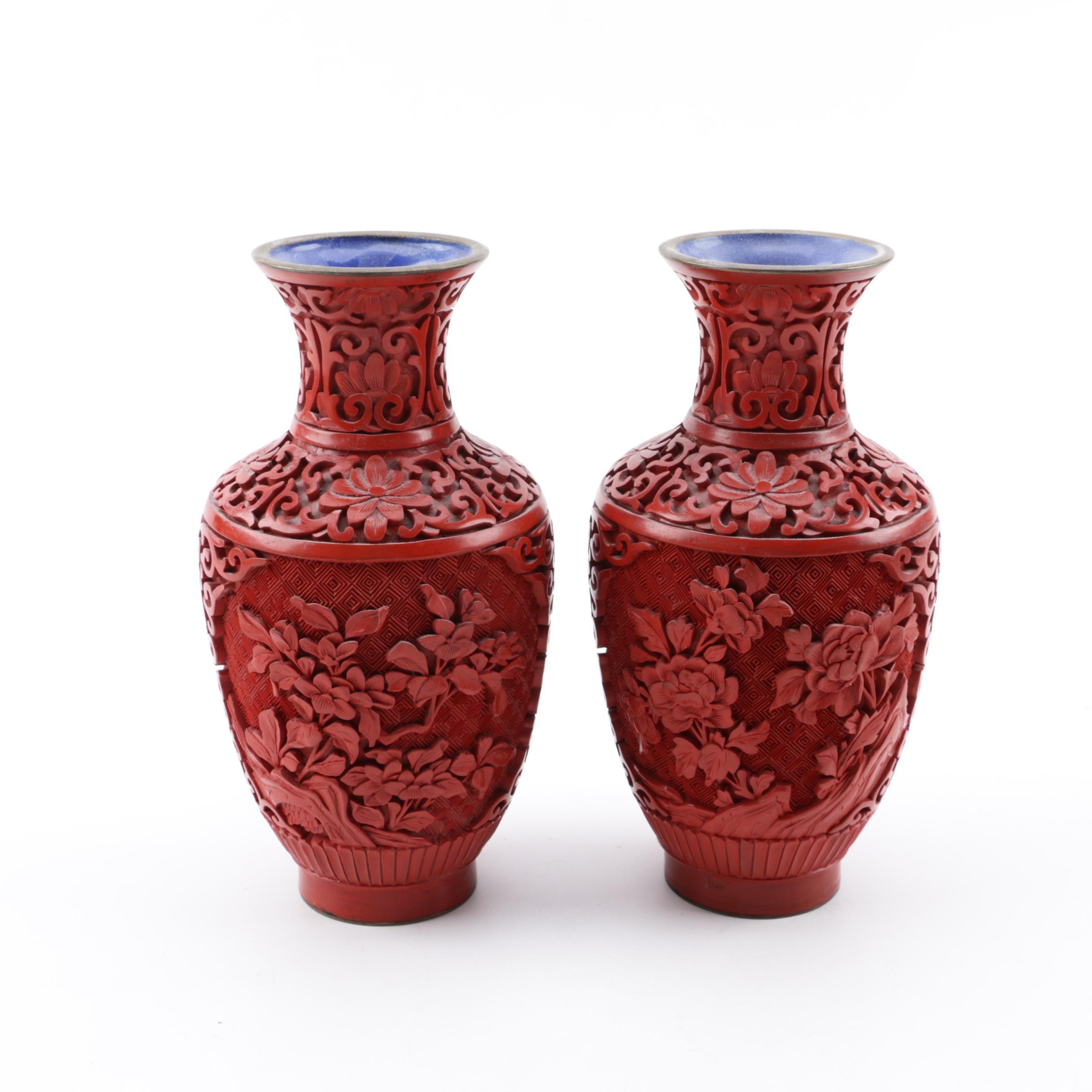 Chinese Cinnabar Style Vases