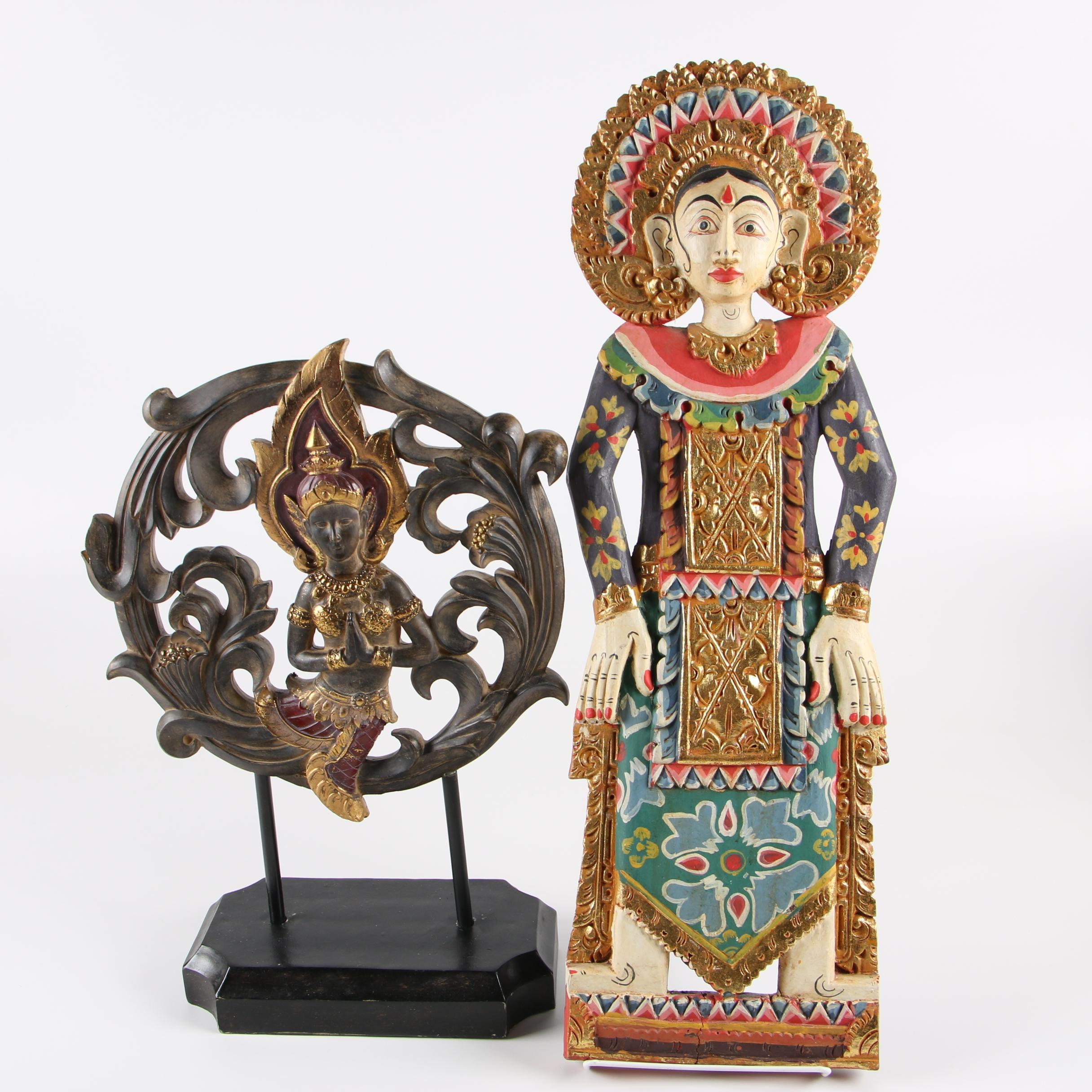 Wood Carvings Featuring Indonesian Polychrome Wood Wall Hanging