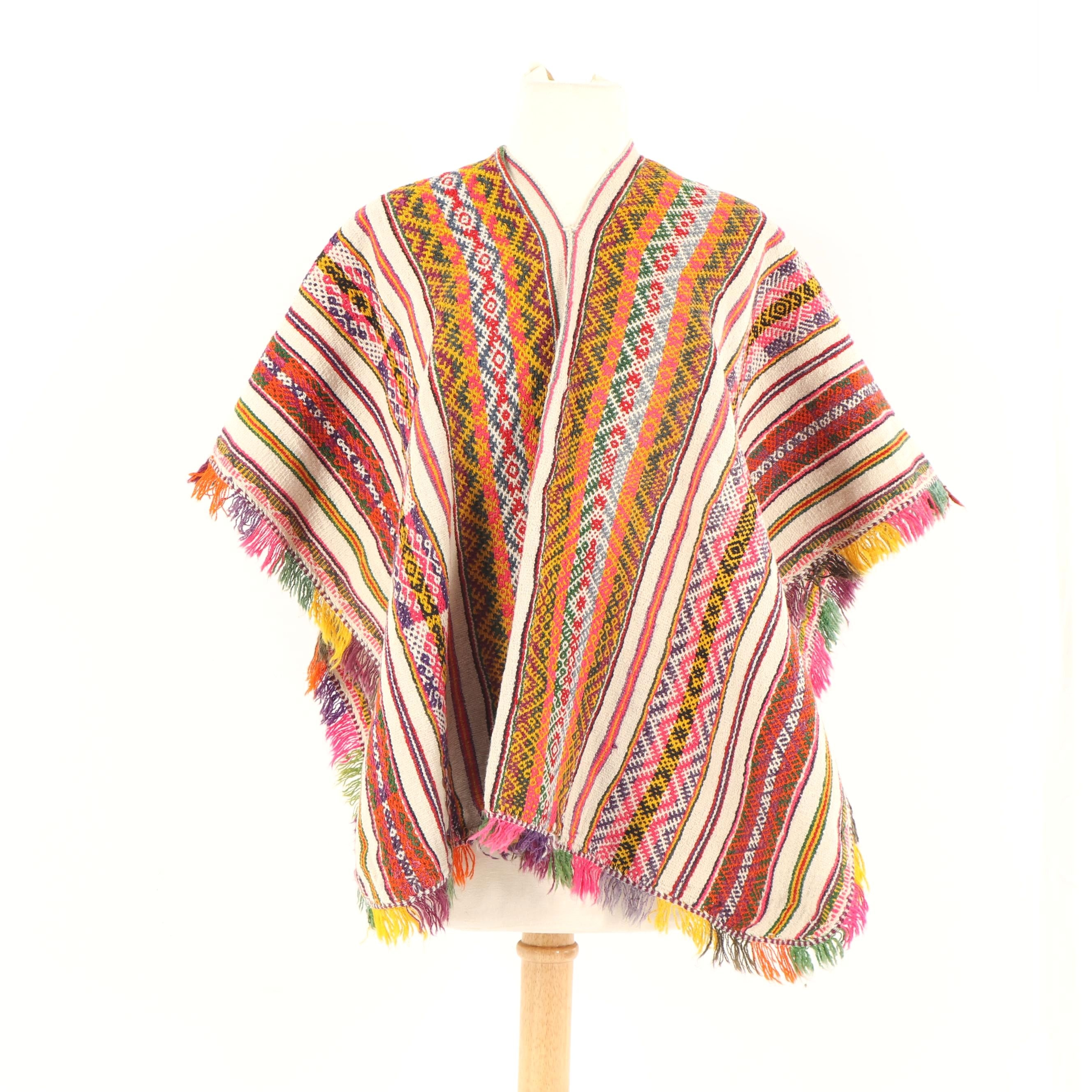Vintage Peruvian Handwoven Wool Blend Poncho