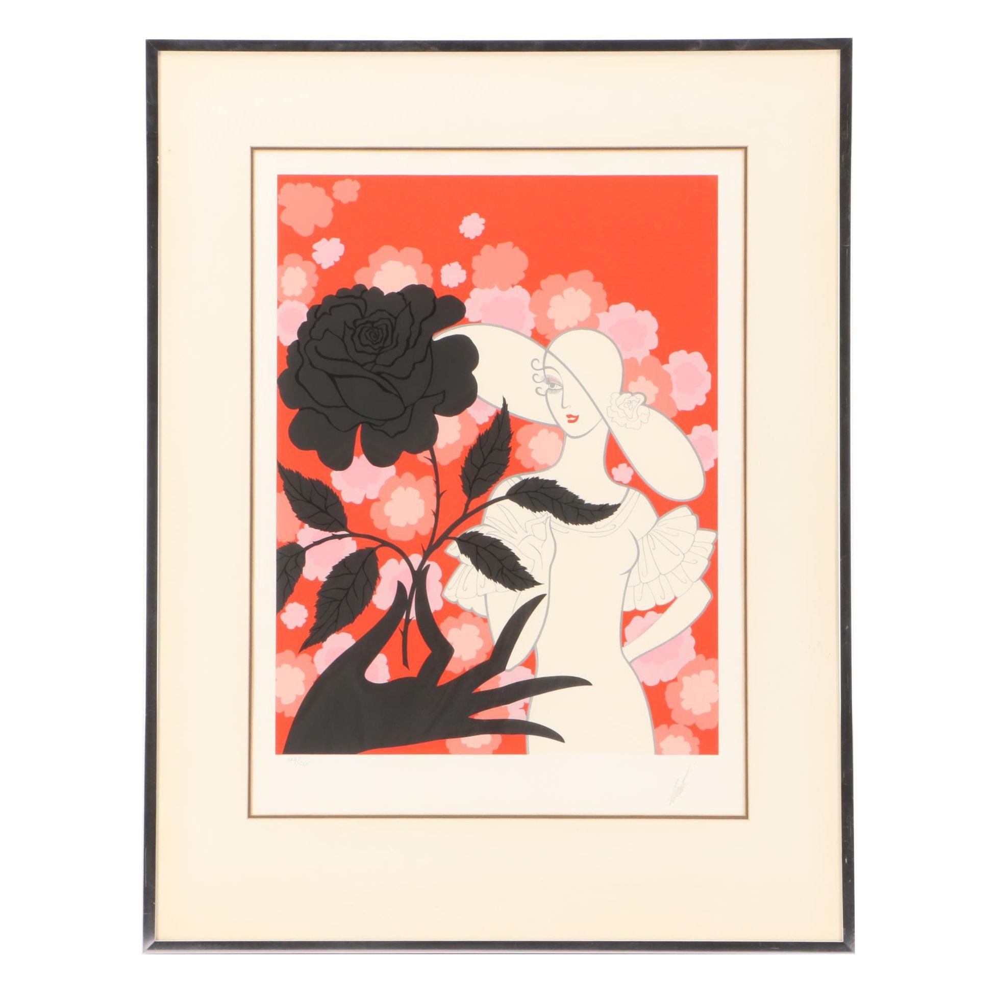 "Erté Limited Edition Serigraph ""Black Rose"""