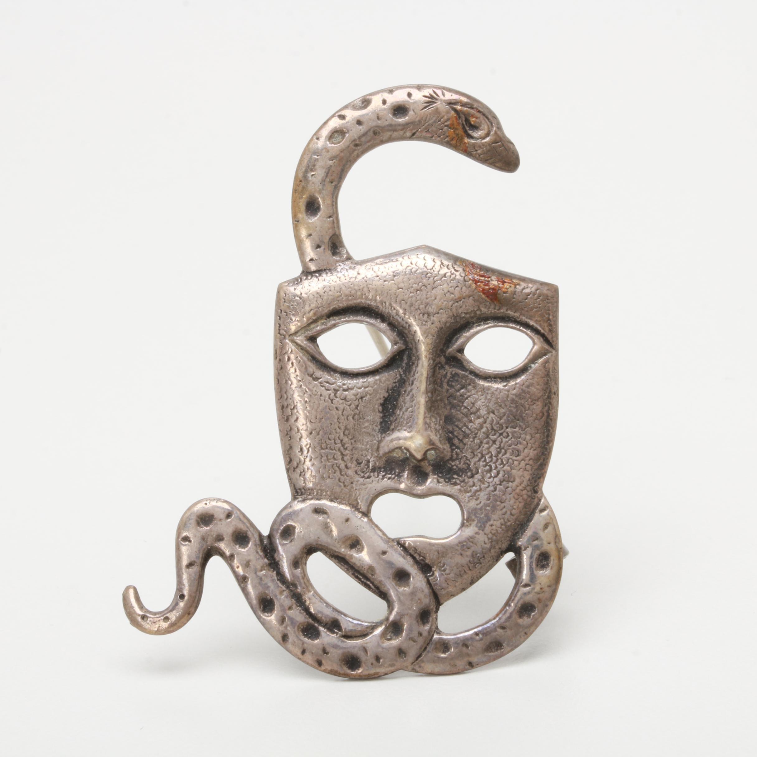 900 Silver Mask Motif Brooch