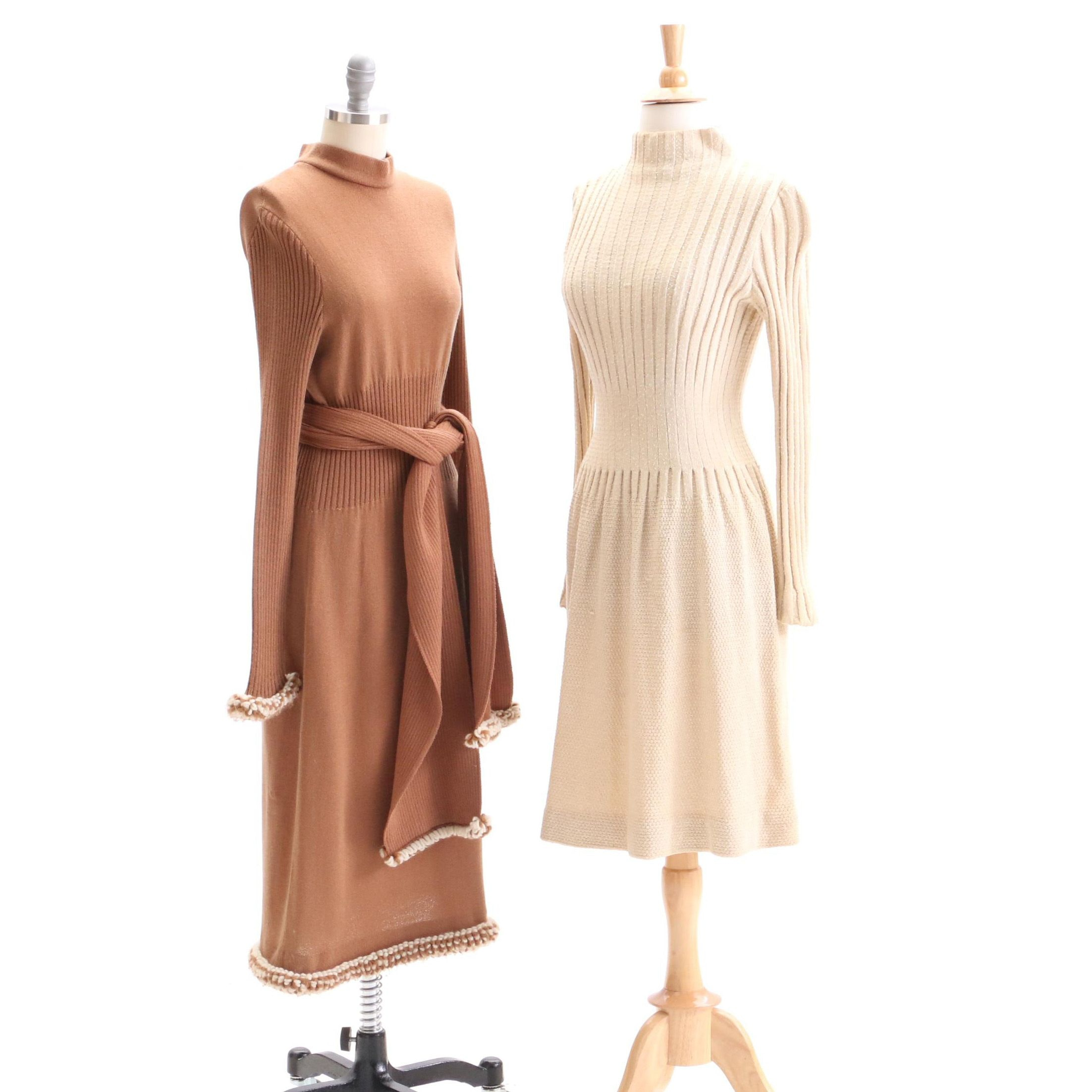 1970s Vintage Pauline Trigere and Pat Sandler Knit Sweater Dresses